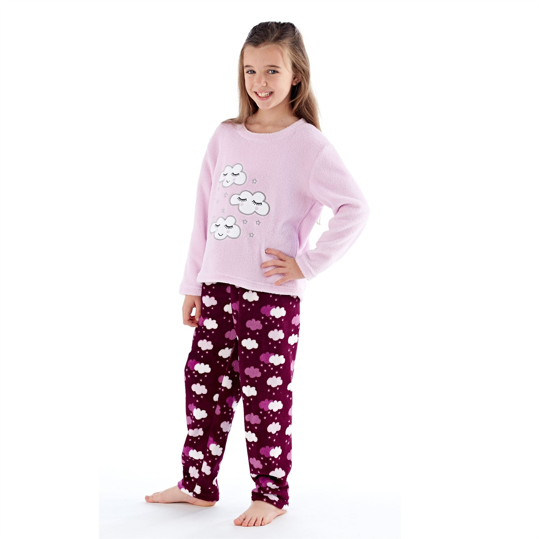 Girls-Boys-Fleece-Pyjamas-Childrens-Pyjama-Set-Kids-PJs-Age-2-13-Years thumbnail 22