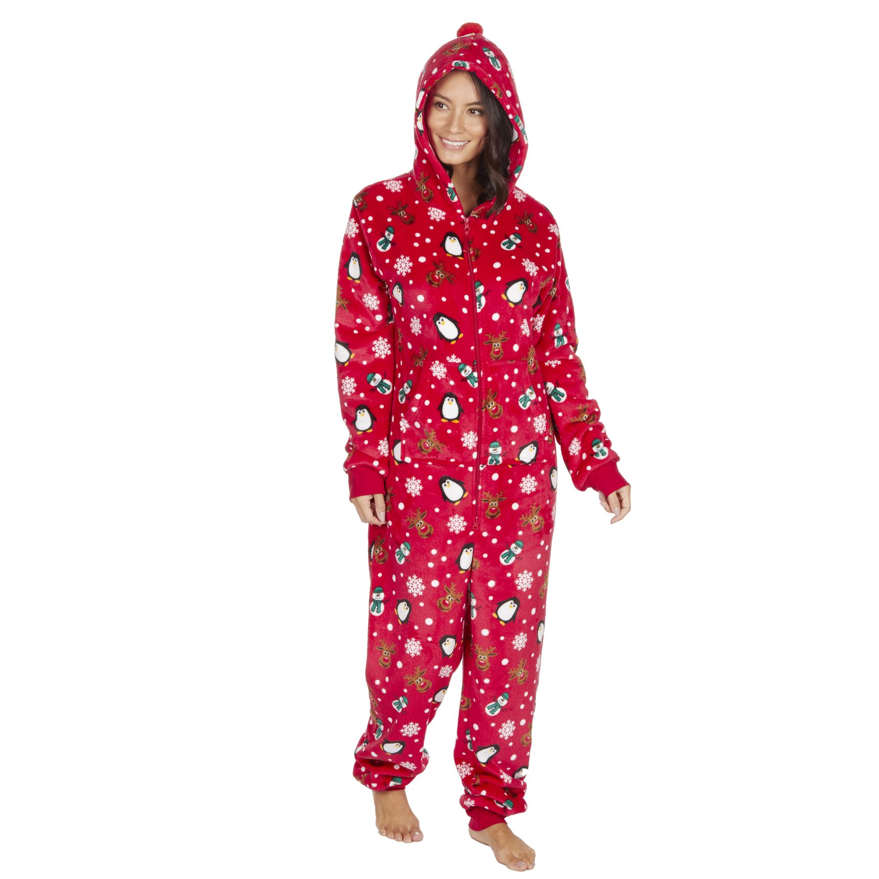 Ladies-Womens-Girls-Fleece-All-In-One-Pyjamas-Outfit-Jumpsuit-Costume-Size-6-18 thumbnail 58