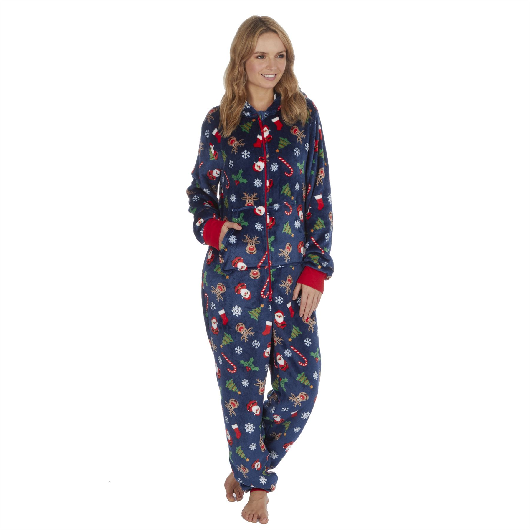 Ladies-Womens-Girls-Fleece-All-In-One-Pyjamas-Outfit-Jumpsuit-Costume-Size-6-18 thumbnail 48