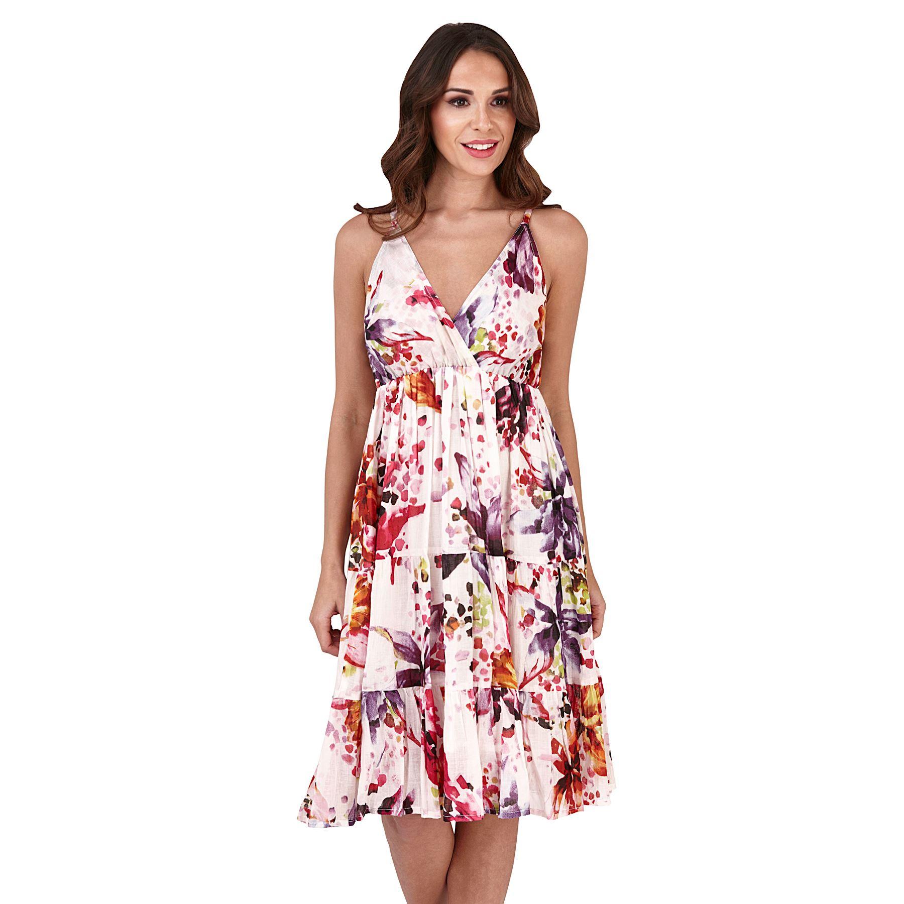 Ladies 100% Cotton Summer Beach Sun Dress Size 8 10 12 14 ...