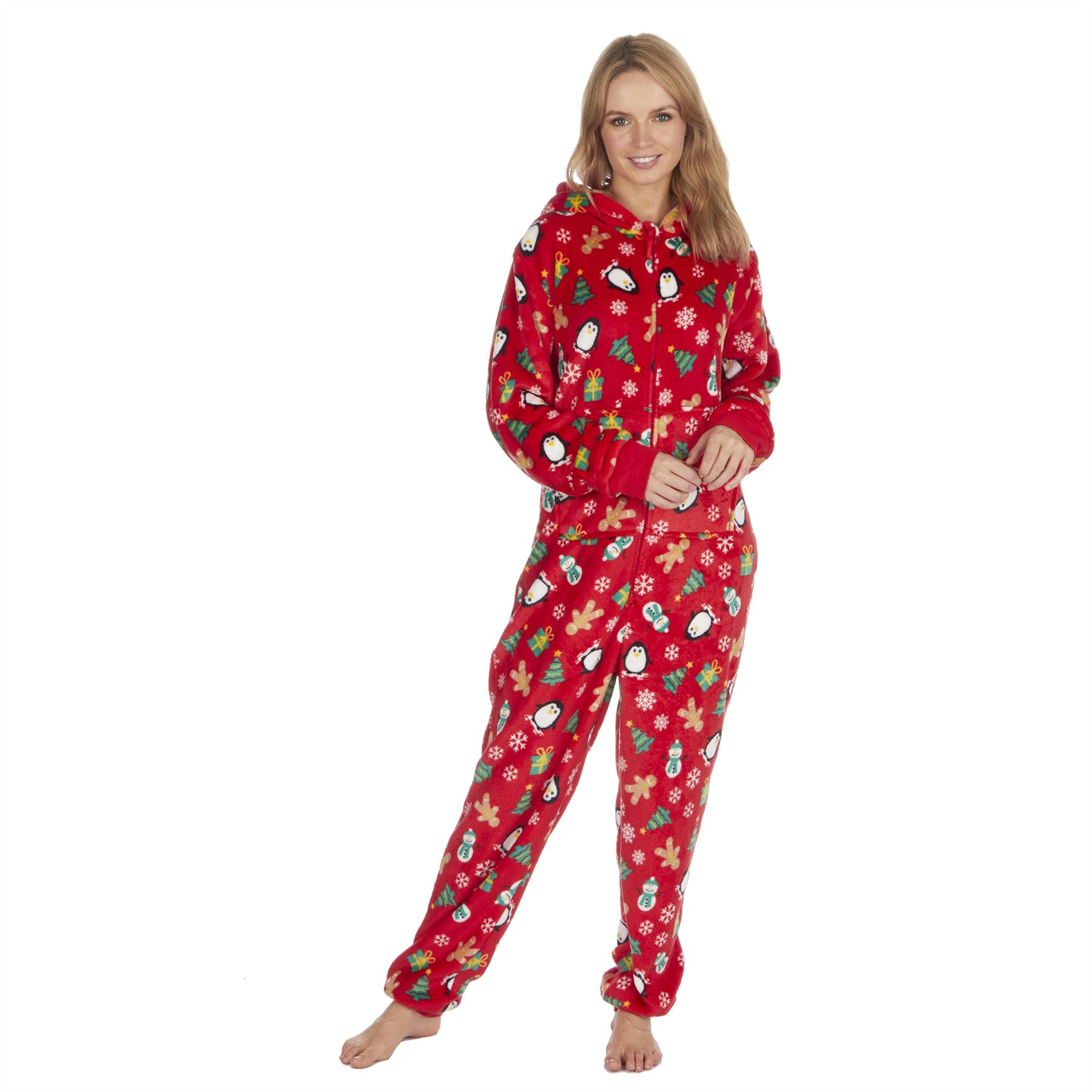 Ladies-Womens-Girls-Fleece-All-In-One-Pyjamas-Outfit-Jumpsuit-Costume-Size-6-18 thumbnail 52