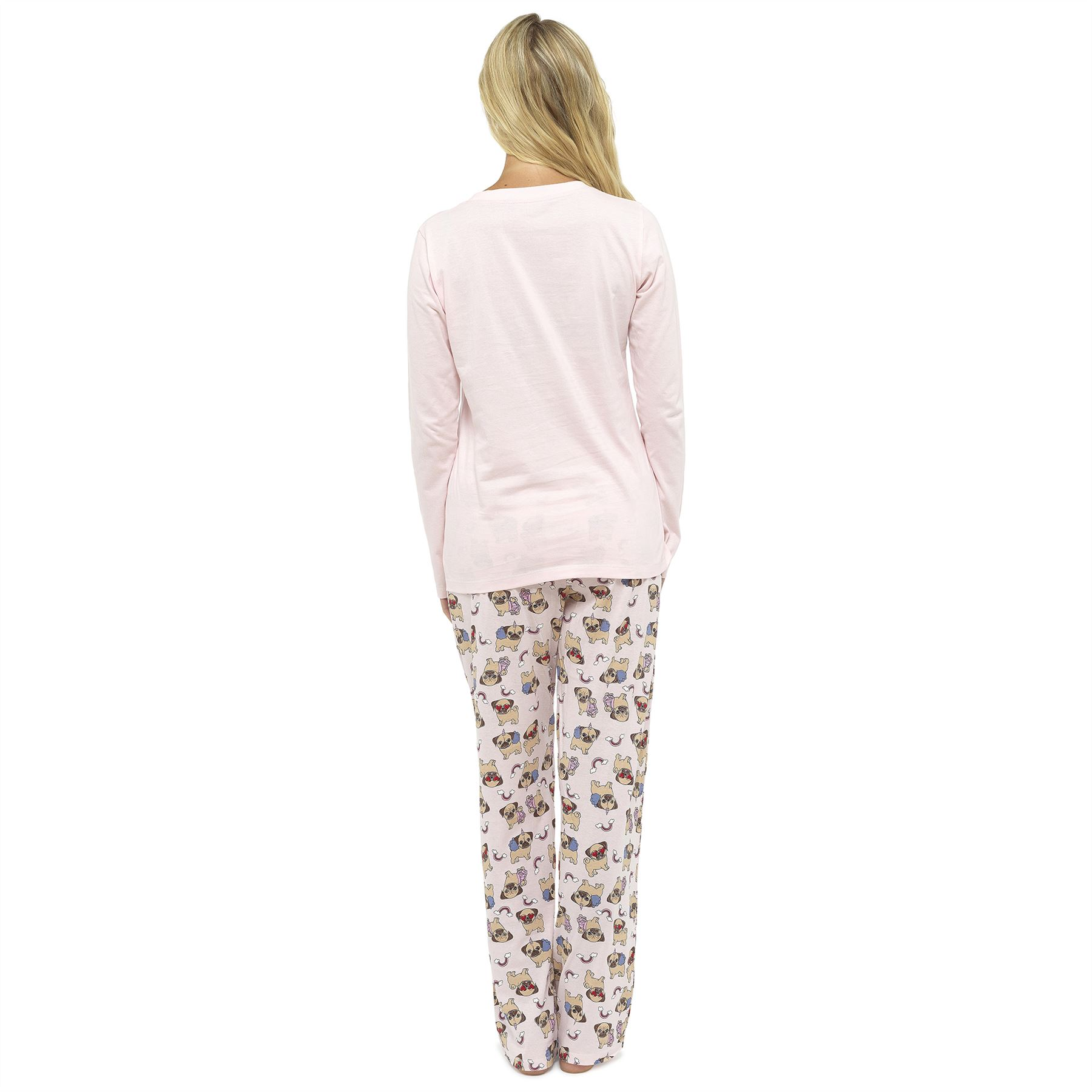 Womens-Ladies-Pug-Dog-Unicorn-Cotton-Pyjamas-Pyjama-PJ-Set-Size-8-22