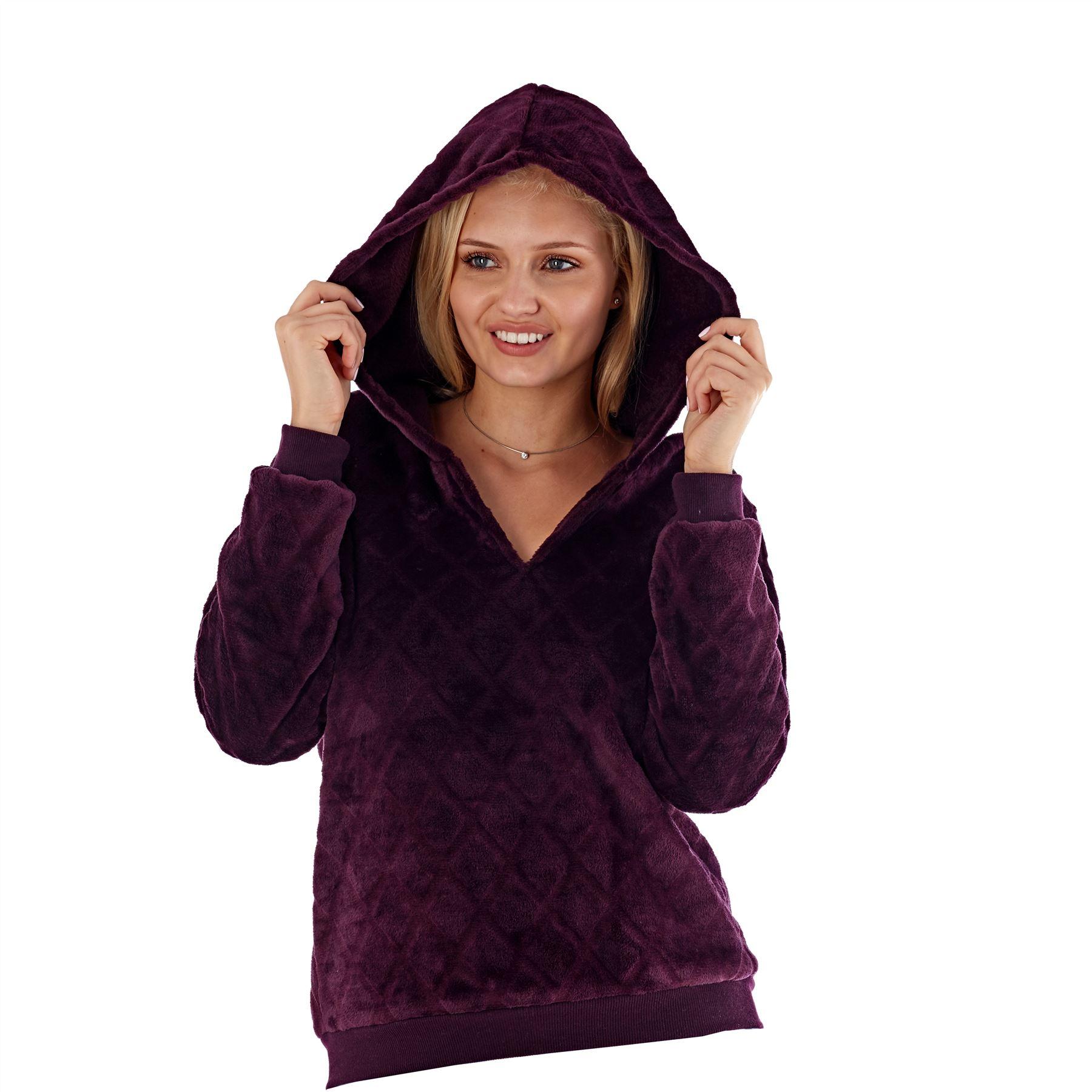 Ladies Womens Girls Snuggle Fleece Lounge Pyjama Top