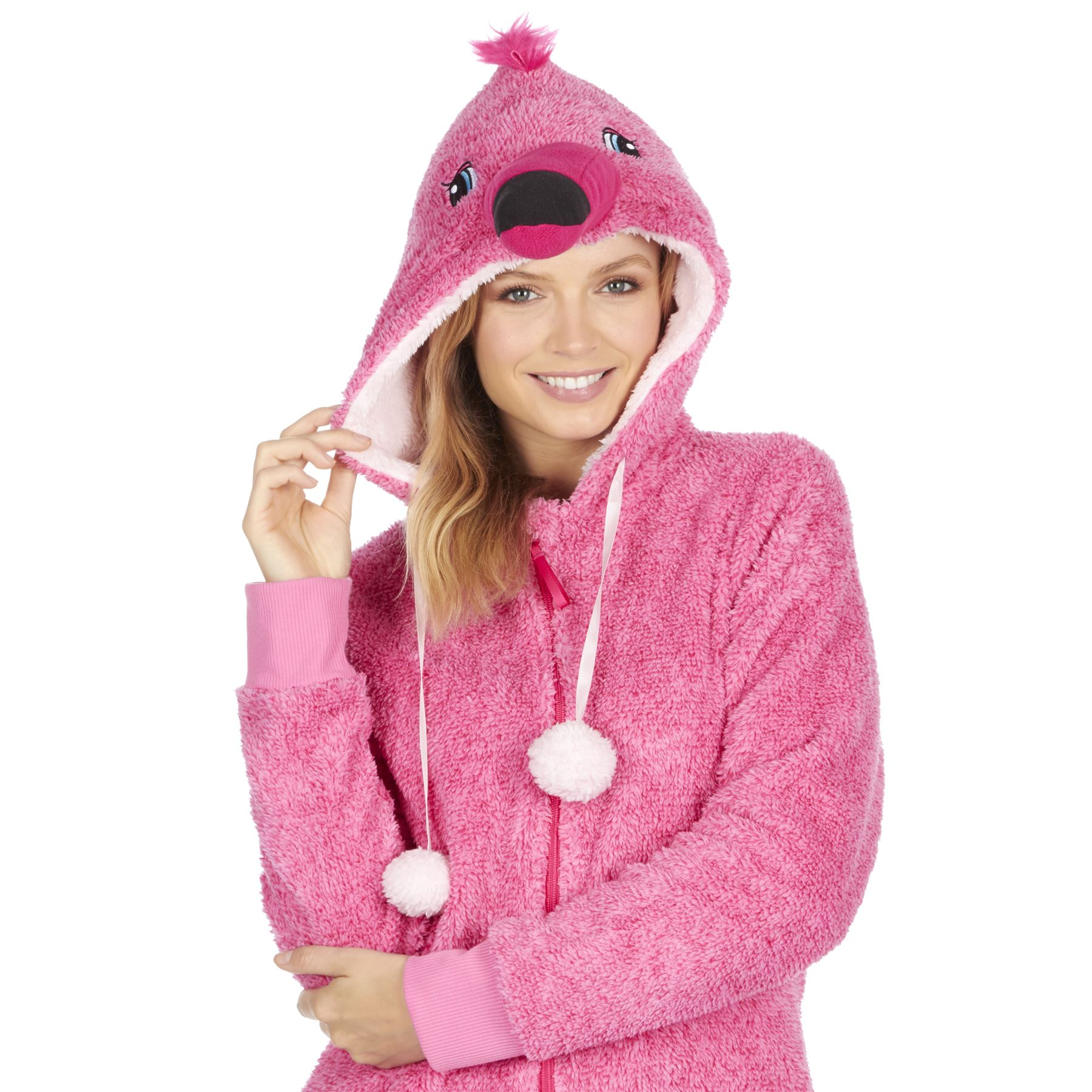 Ladies-Womens-Girls-Fleece-All-In-One-Pyjamas-Outfit-Jumpsuit-Costume-Size-6-18 thumbnail 3