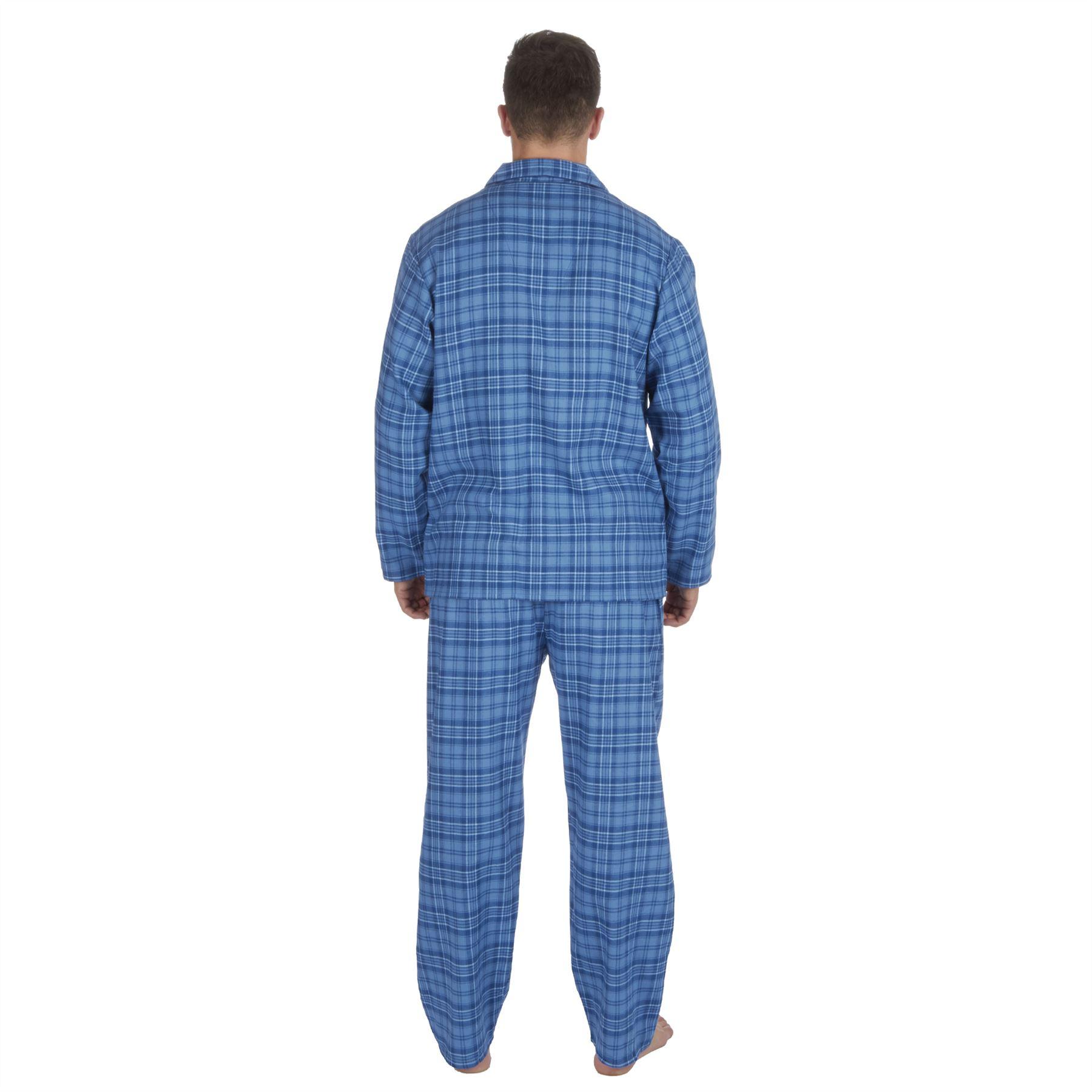 thumbnail 3 - Mens-Boys-100-Cotton-Flannel-Long-Sleeved-Pyjamas-Pyjama-Set-Check-Size-M-XXL