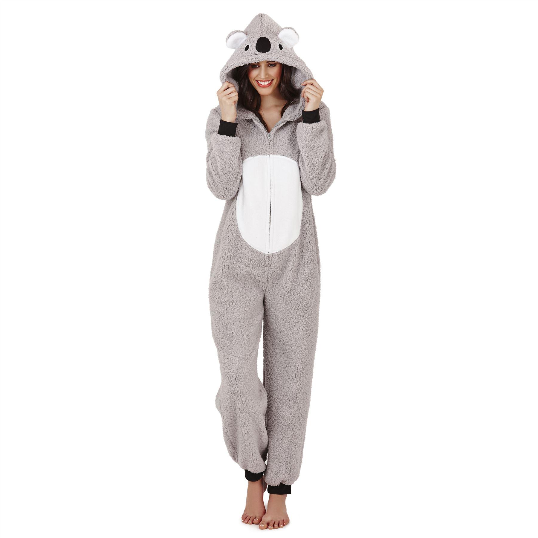 Femmes-Femmes-Filles-Polaire-Tout-en-Un-Pyjamas-Tenue-Costume-Capuche-Taille-6-22