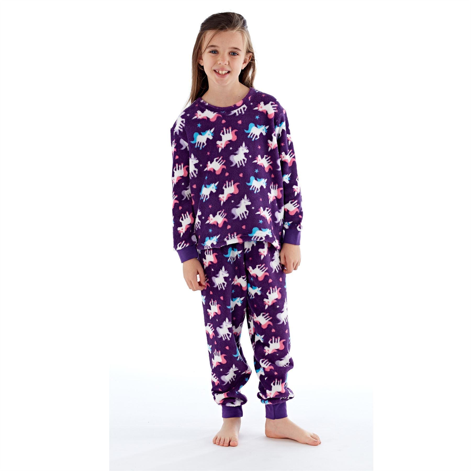 Girls-Boys-Fleece-Pyjamas-Childrens-Pyjama-Set-Kids-PJs-Age-2-13-Years thumbnail 7