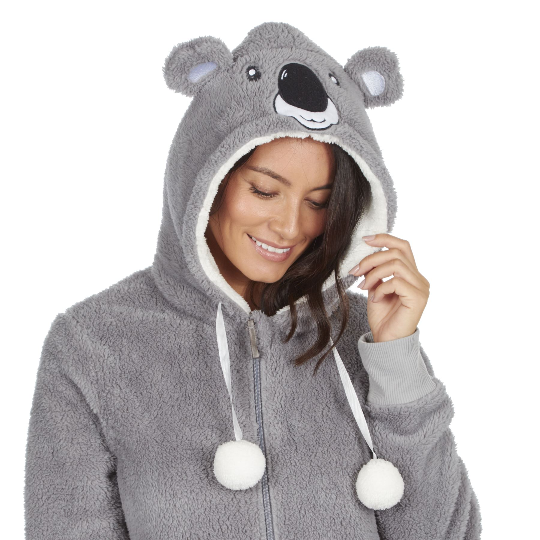 Ladies-Womens-Girls-Fleece-All-In-One-Pyjamas-Outfit-Jumpsuit-Costume-Size-6-18 thumbnail 6