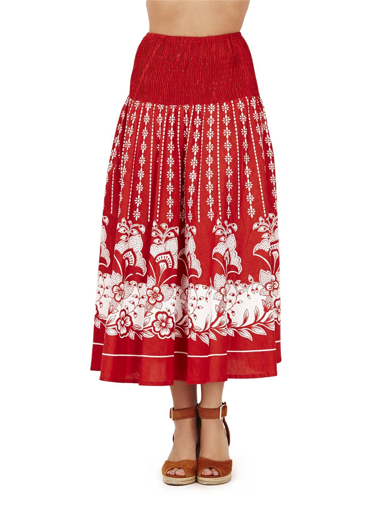 Ladies 100/% Cotton Summer//Beach 2 in 1 Strapless Red Floral Sun Dress Skirt