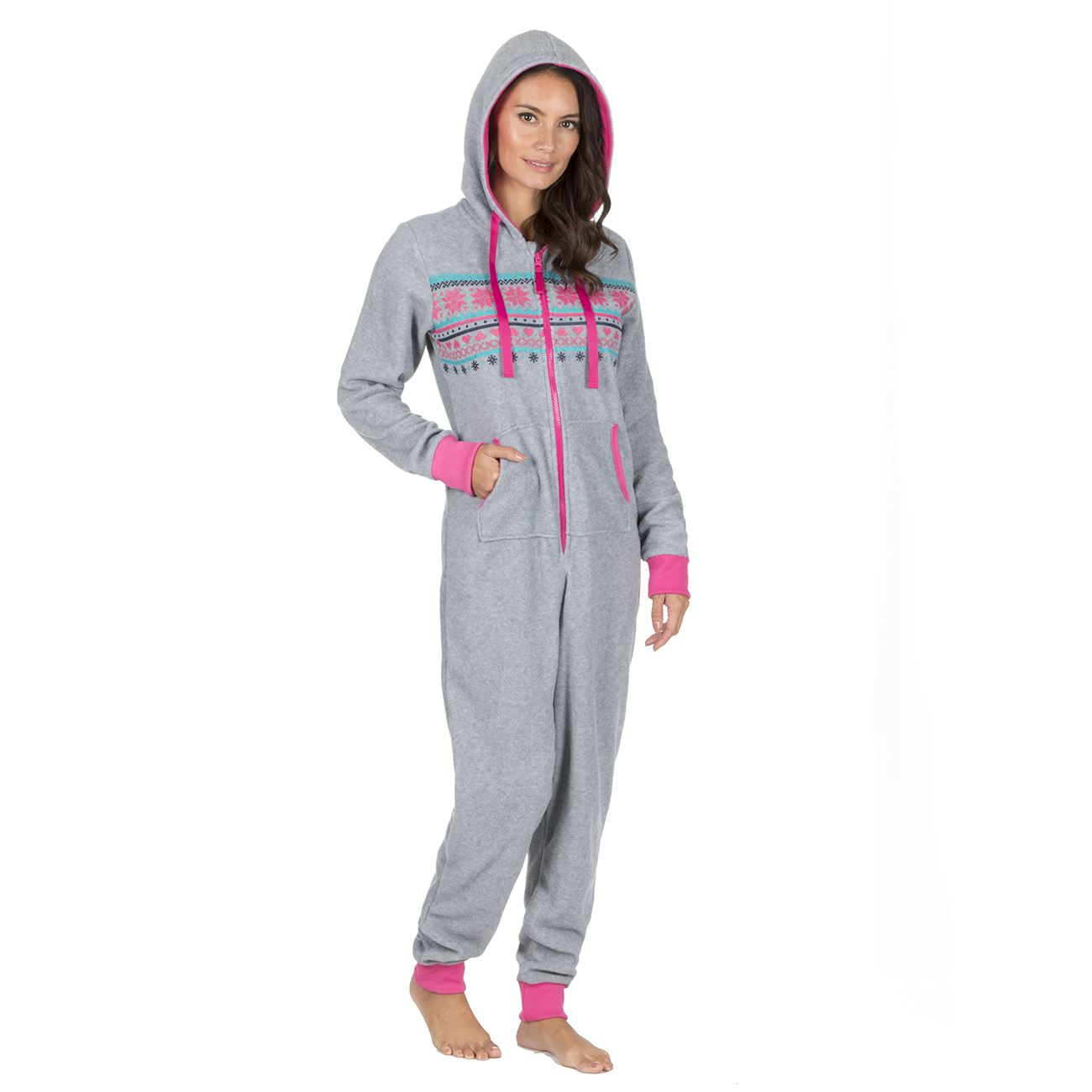 Ladies-Womens-Girls-Fleece-All-In-One-Pyjamas-Outfit-Jumpsuit-Costume-Size-6-18 thumbnail 41