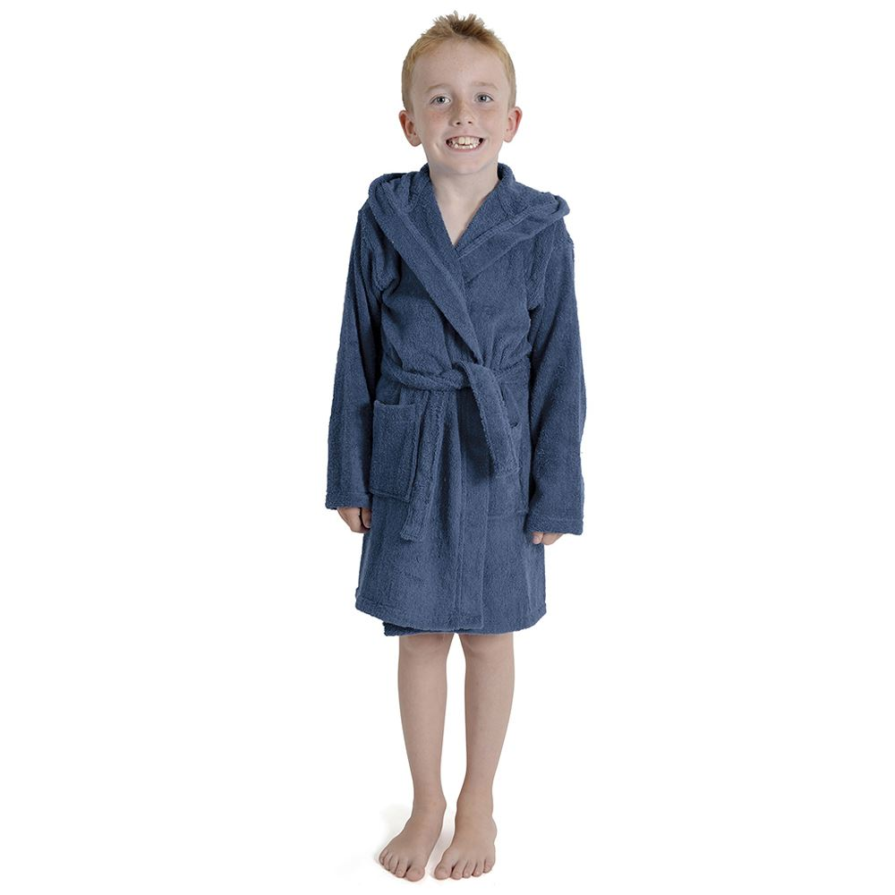 Kids-Childrens-Hooded-Towelling-Robe-Boys-Girls-Dressing-Gown-Age-7-13-Years