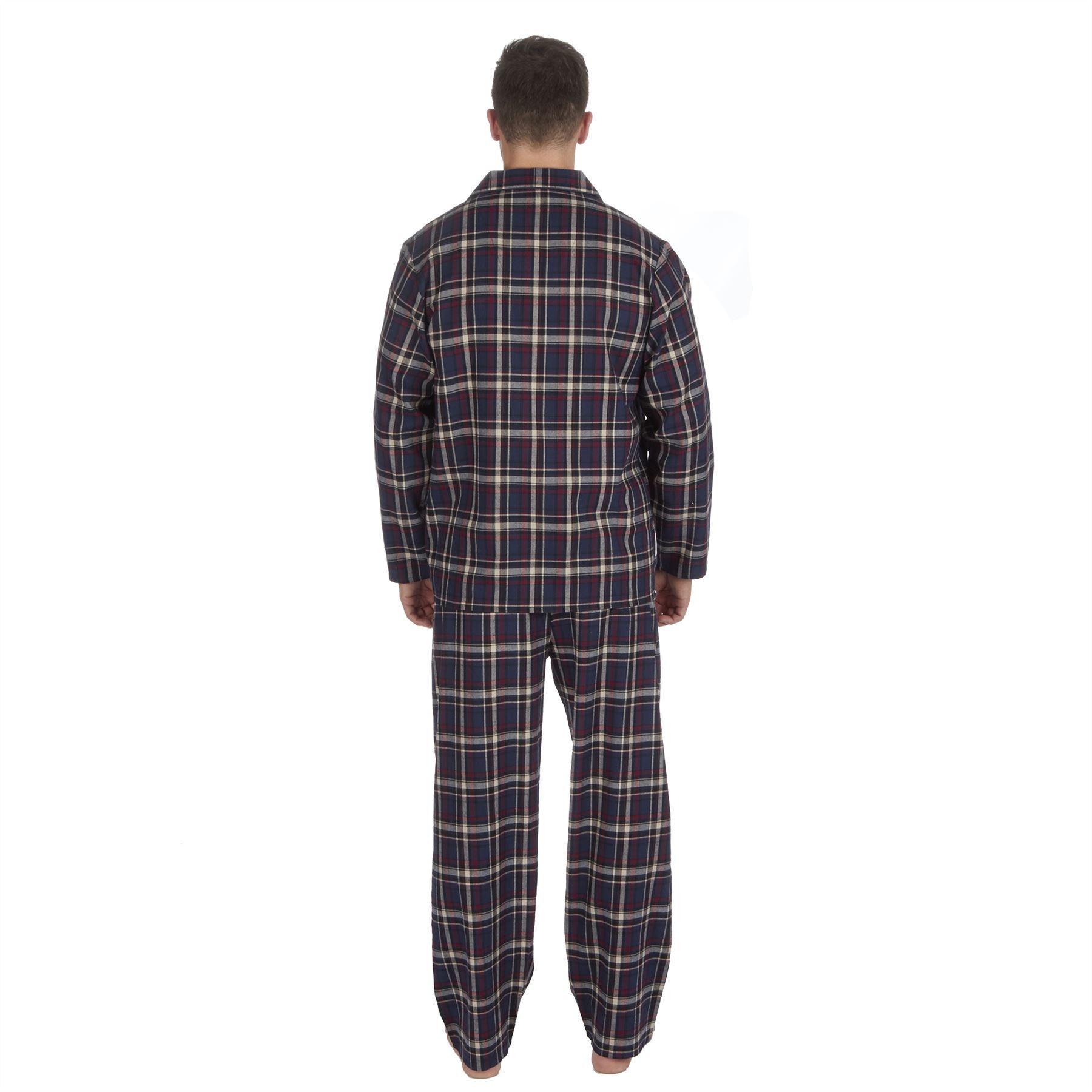 thumbnail 12 - Mens-Boys-100-Cotton-Flannel-Long-Sleeved-Pyjamas-Pyjama-Set-Check-Size-M-XXL