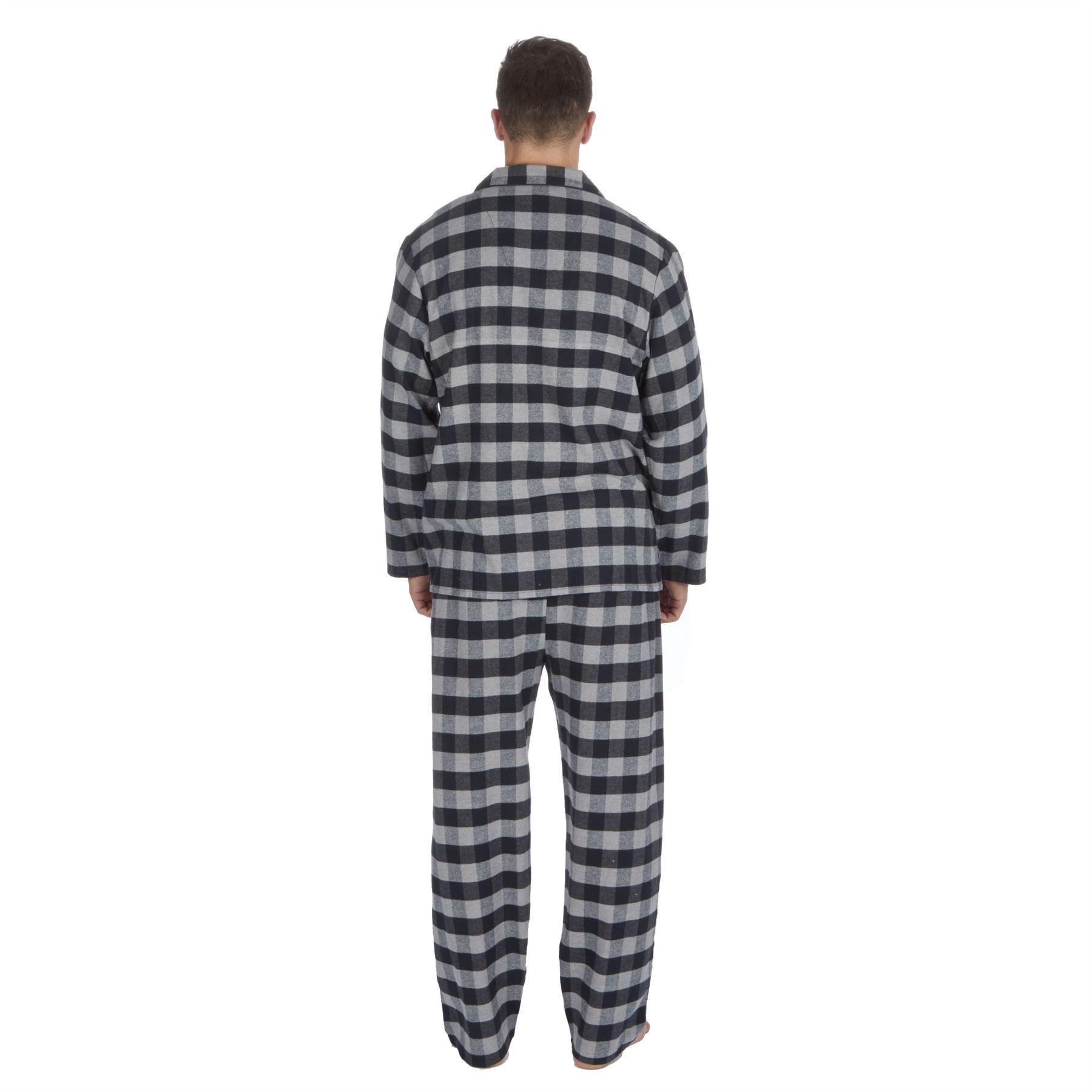 thumbnail 8 - Mens-Boys-100-Cotton-Flannel-Long-Sleeved-Pyjamas-Pyjama-Set-Check-Size-M-XXL