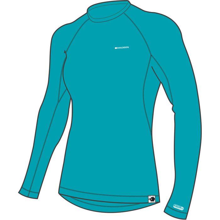 Madison Aqua Blue Isoler Merino Womens Long Sleeved Baselayer Top UK ... 04b2f993a