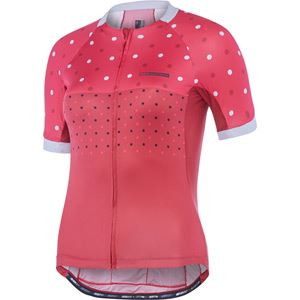 Madison Sportive Apex women's short sleeve jersey, raspberry   rio red hex dots