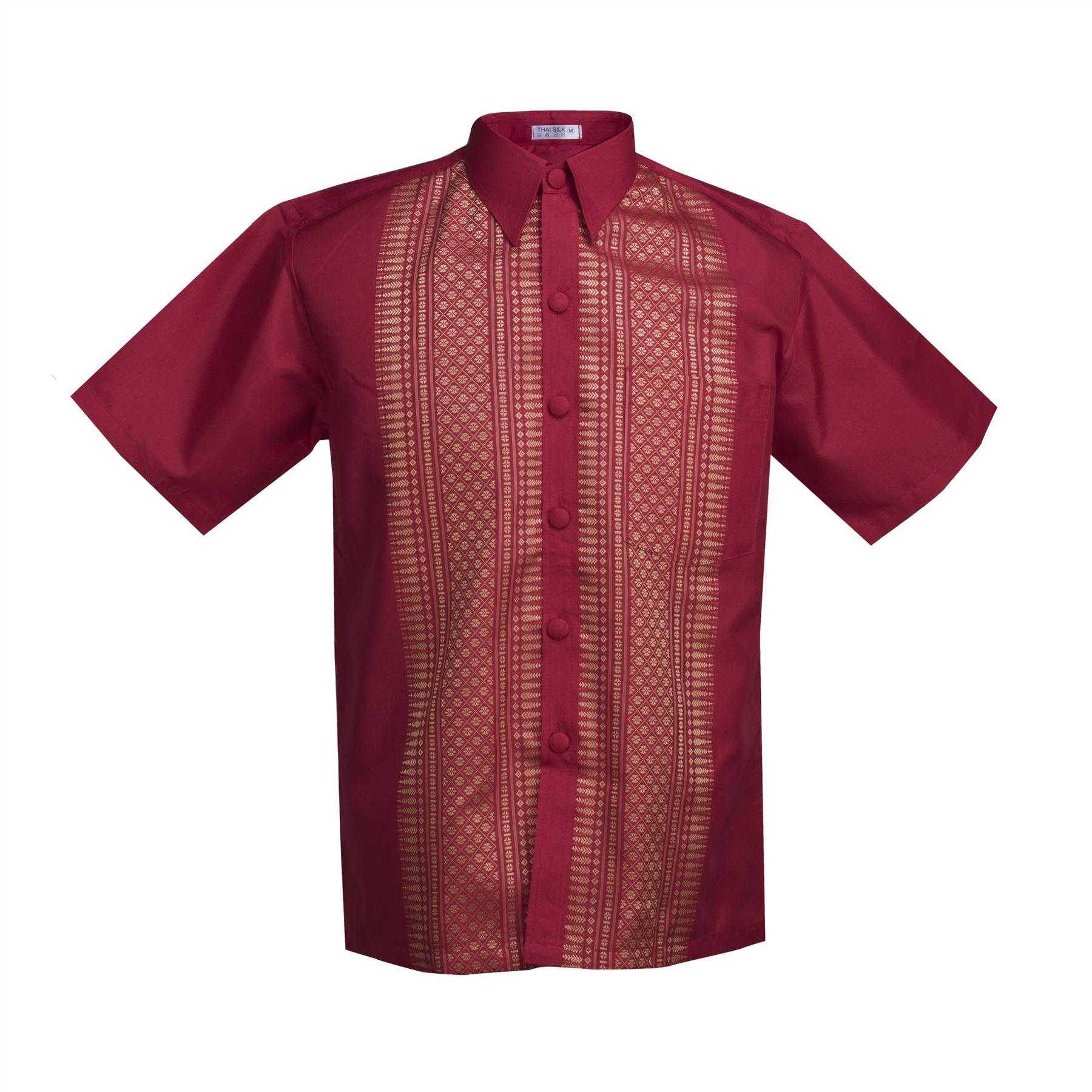 Traditional thai silk mens shirt embroidered short sleeve for Mens silk shirts amazon