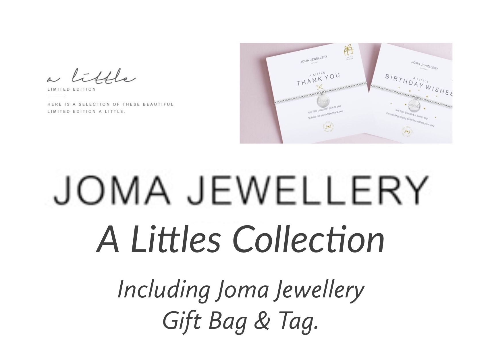 8297f0f3add92 Details about Joma Jewellery Bracelet A Littles Collection Charms Messages  Gift Bag & Tag