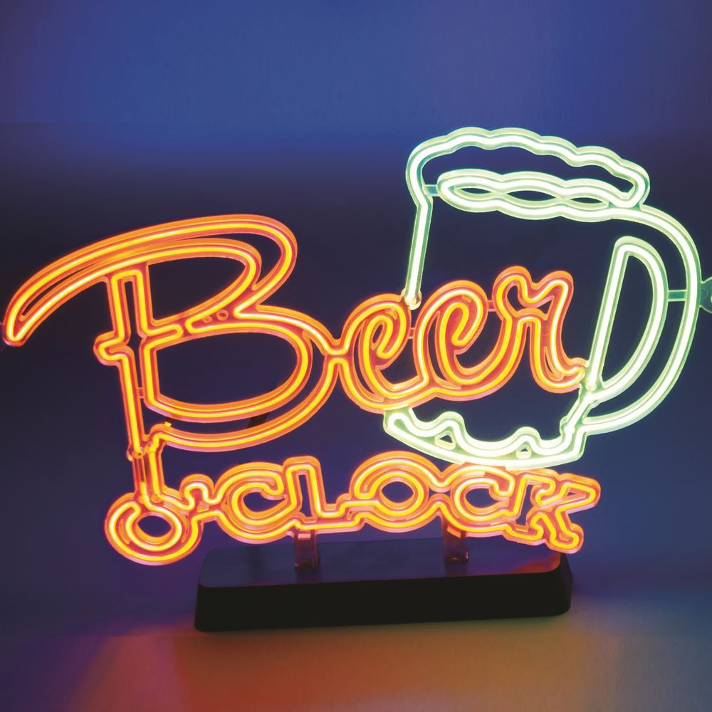 Beer O'clock Neon Effect Sign Light Electro Luminescent