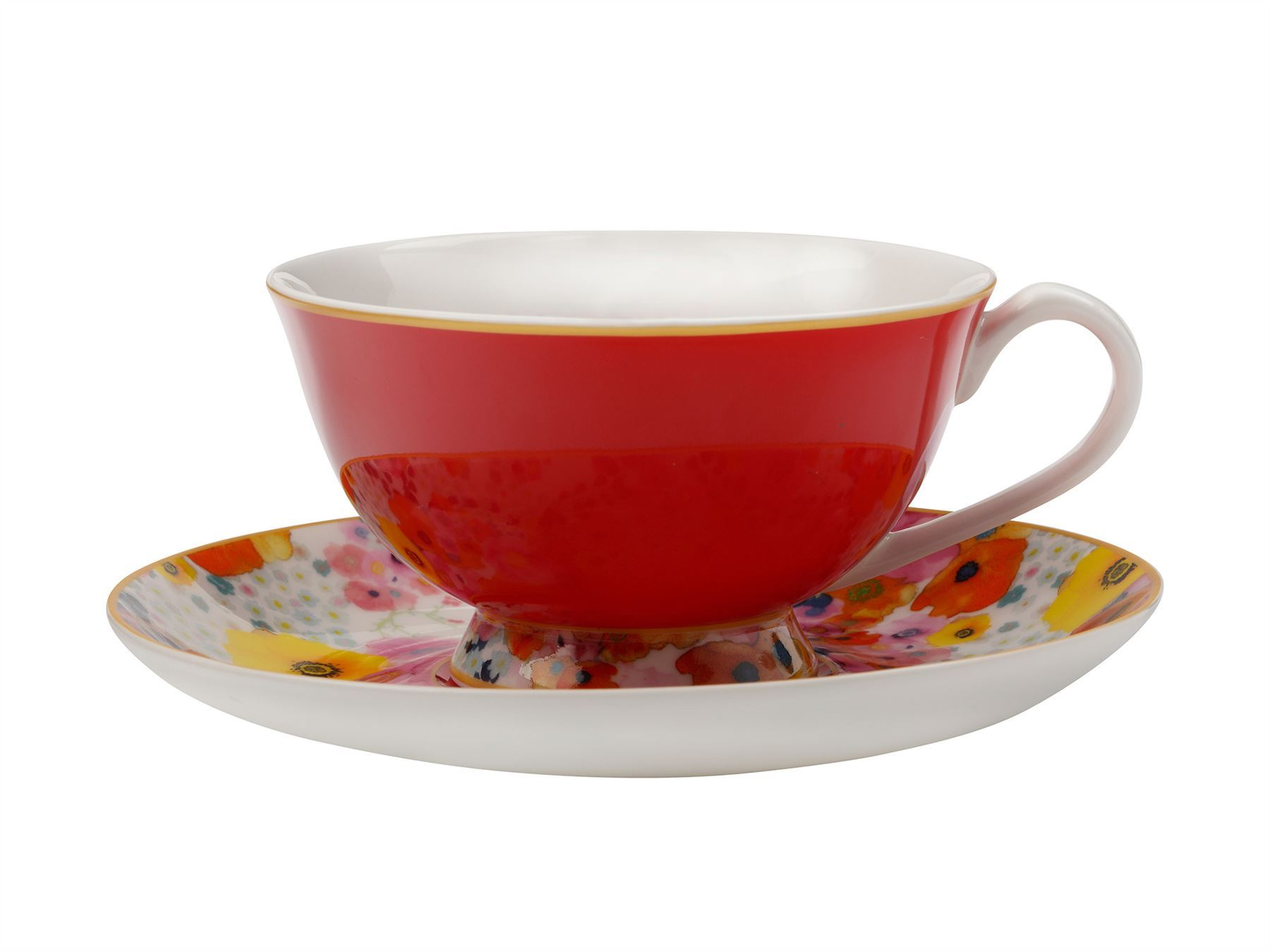 Details about 2x Maxwell & Williams Cashmere Bloems Tea Cup And Saucer Red
