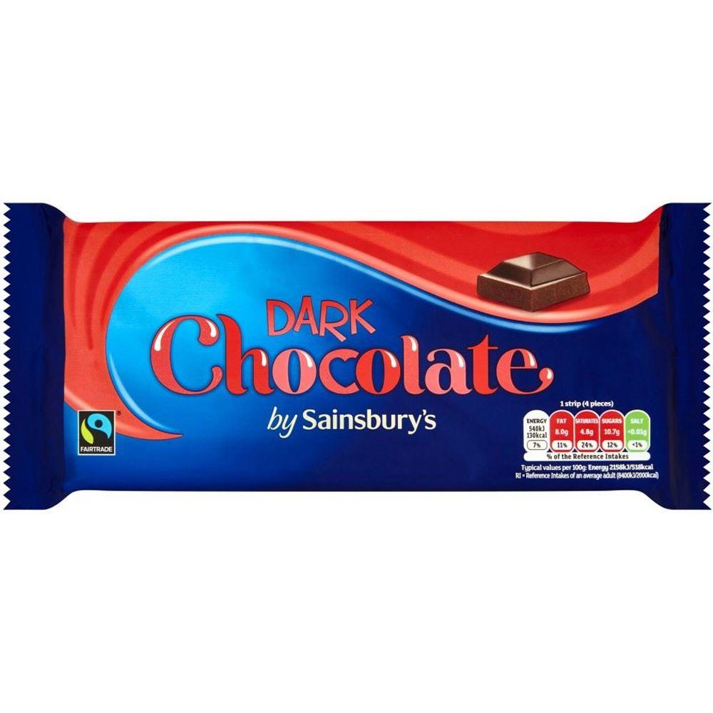 Details About Sainsburys Dark Chocolate Fairtrade 200g