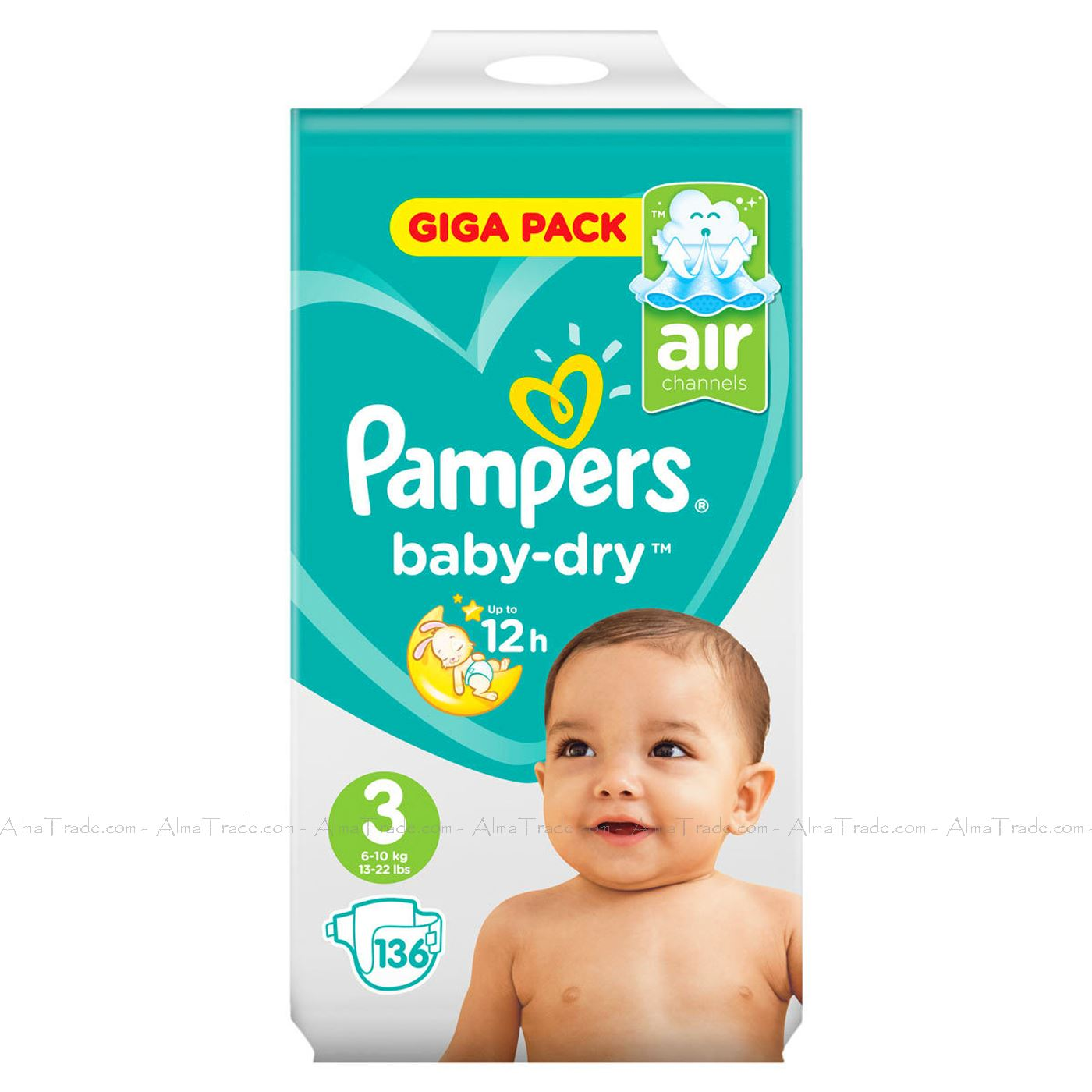 Size 3 6-10kg 13-22lbs 50 Pampers Baby Dry Nappies Air Channels