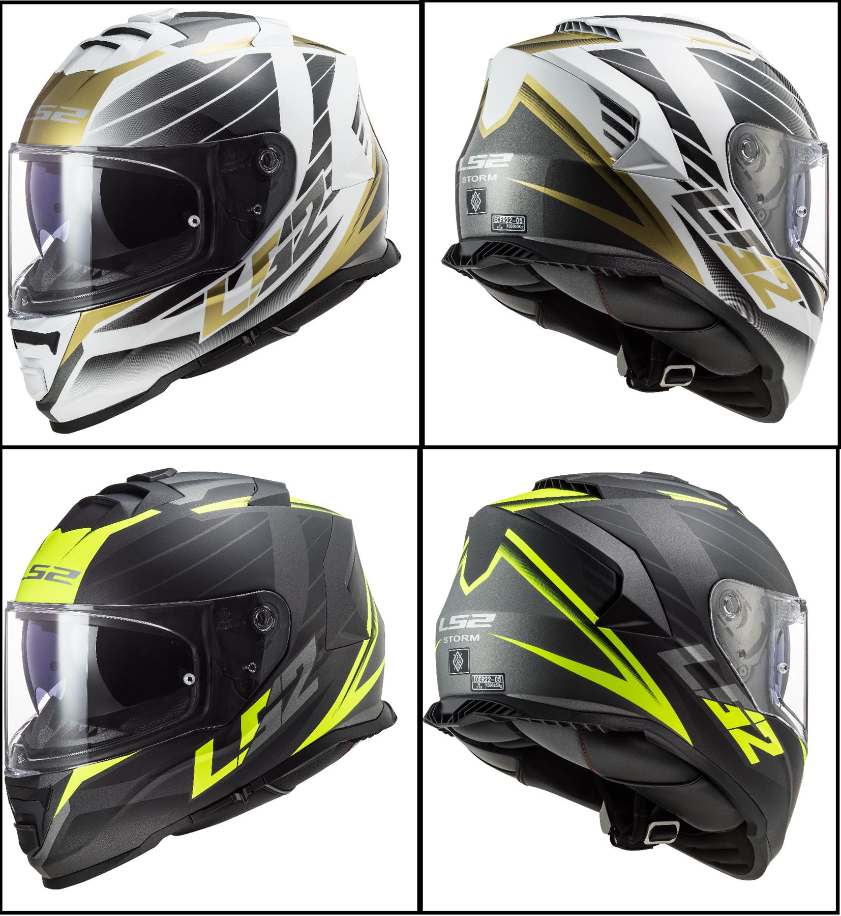 Casco moto LS2 FF800 STORM NERVE WHITE ANTIQUE GOLD Bianco//Nero//Oro XS