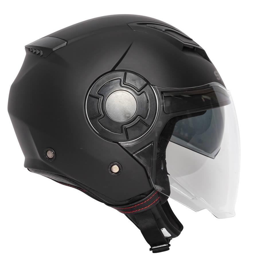 Spada Lycan Open Face Motorcycle Motorbike Helmet Matt Black White ECE 2205