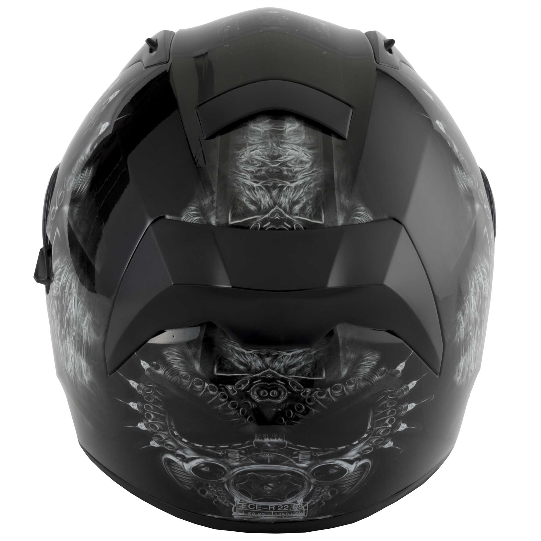 thumbnail 22 - VCAN V128 Dragon Skull Monster Motorcycle Bike Helmet With Drop Down Sun Visor