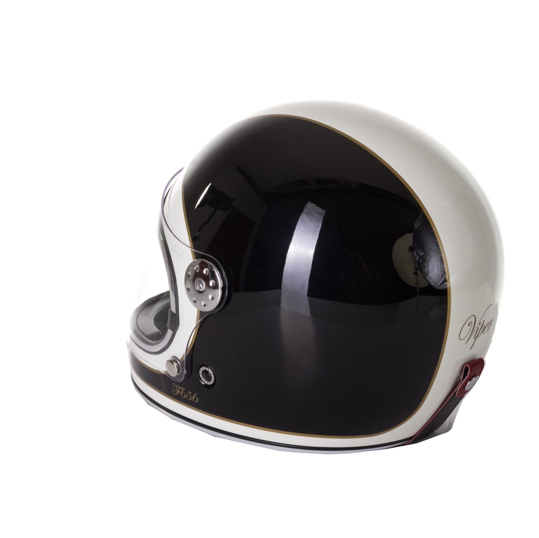 Viper-F656-Retro-Vintage-FibreGlass-Full-Face-Motorcycle-Bike-Road-Crash-Helmet miniature 5