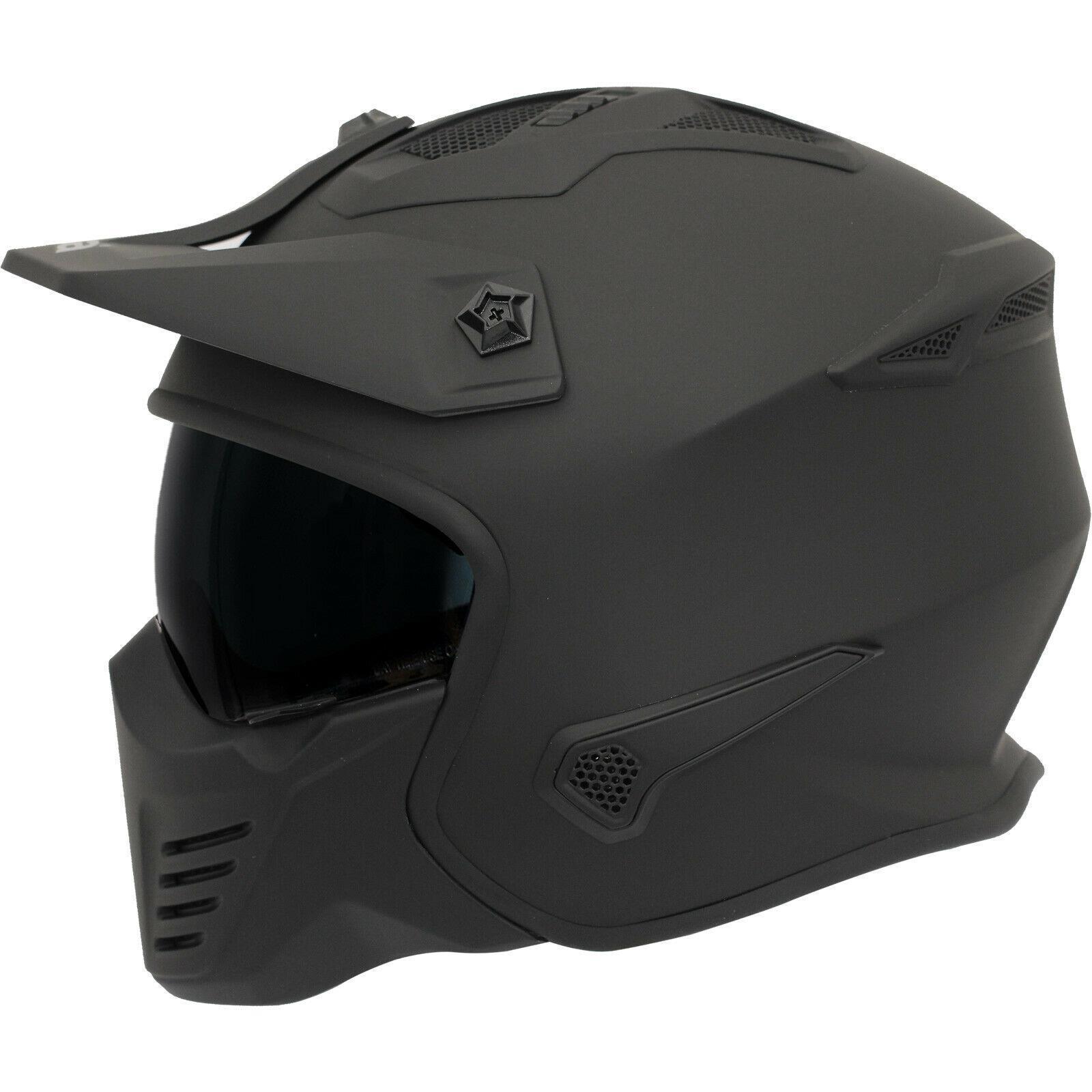Spada-Storm-Plain-Open-Face-Motorcycle-Motorbike-Matt-Black-Sun-Visor-Helmet miniature 5