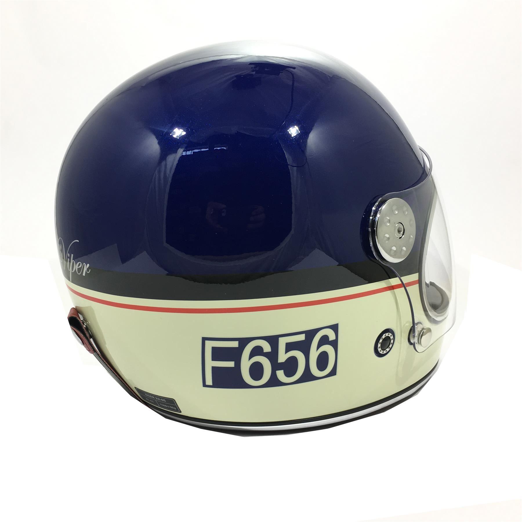 Viper-F656-Retro-Vintage-FibreGlass-Full-Face-Motorcycle-Bike-Road-Crash-Helmet miniature 23
