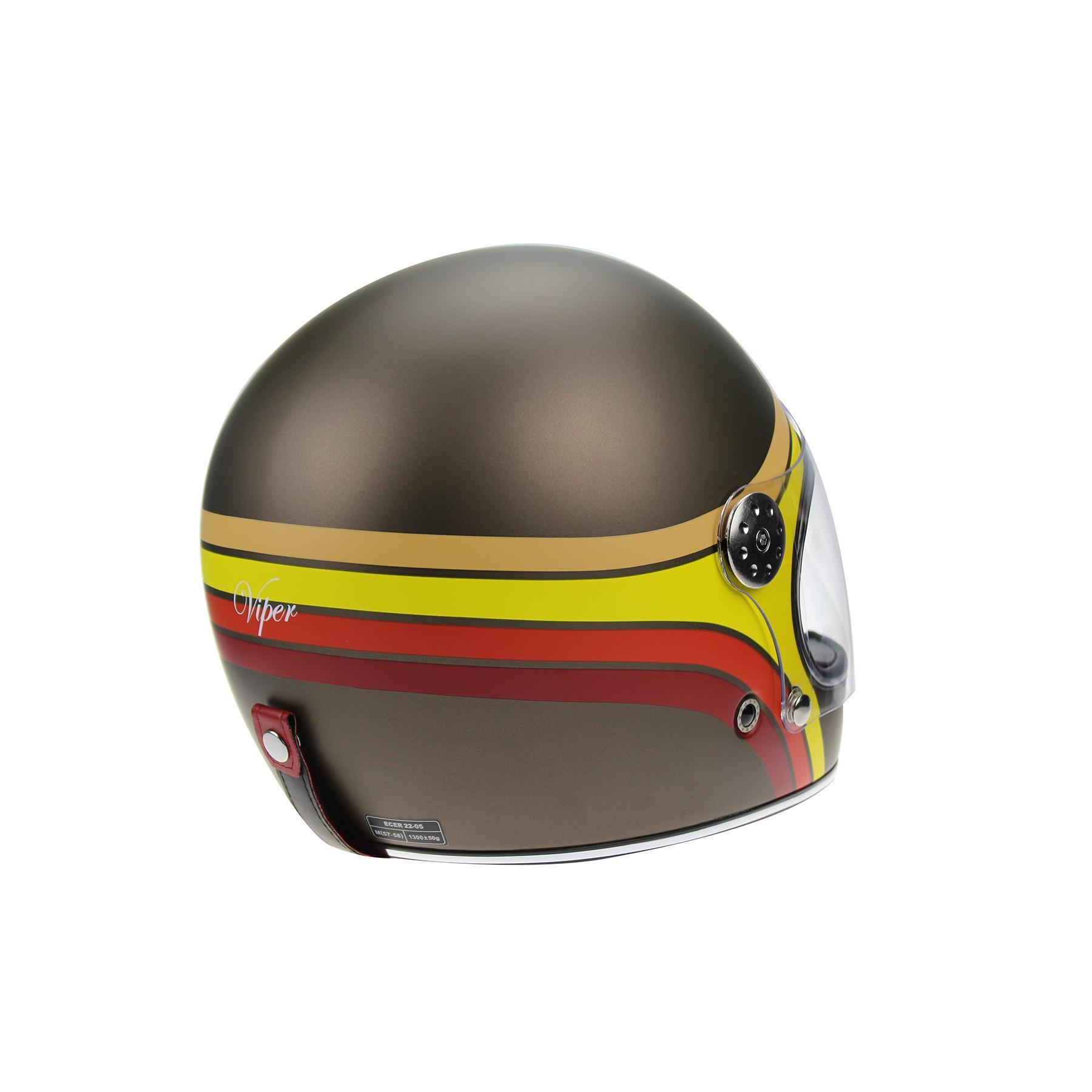 Viper-F656-Retro-Vintage-FibreGlass-Full-Face-Motorcycle-Bike-Road-Crash-Helmet miniature 30
