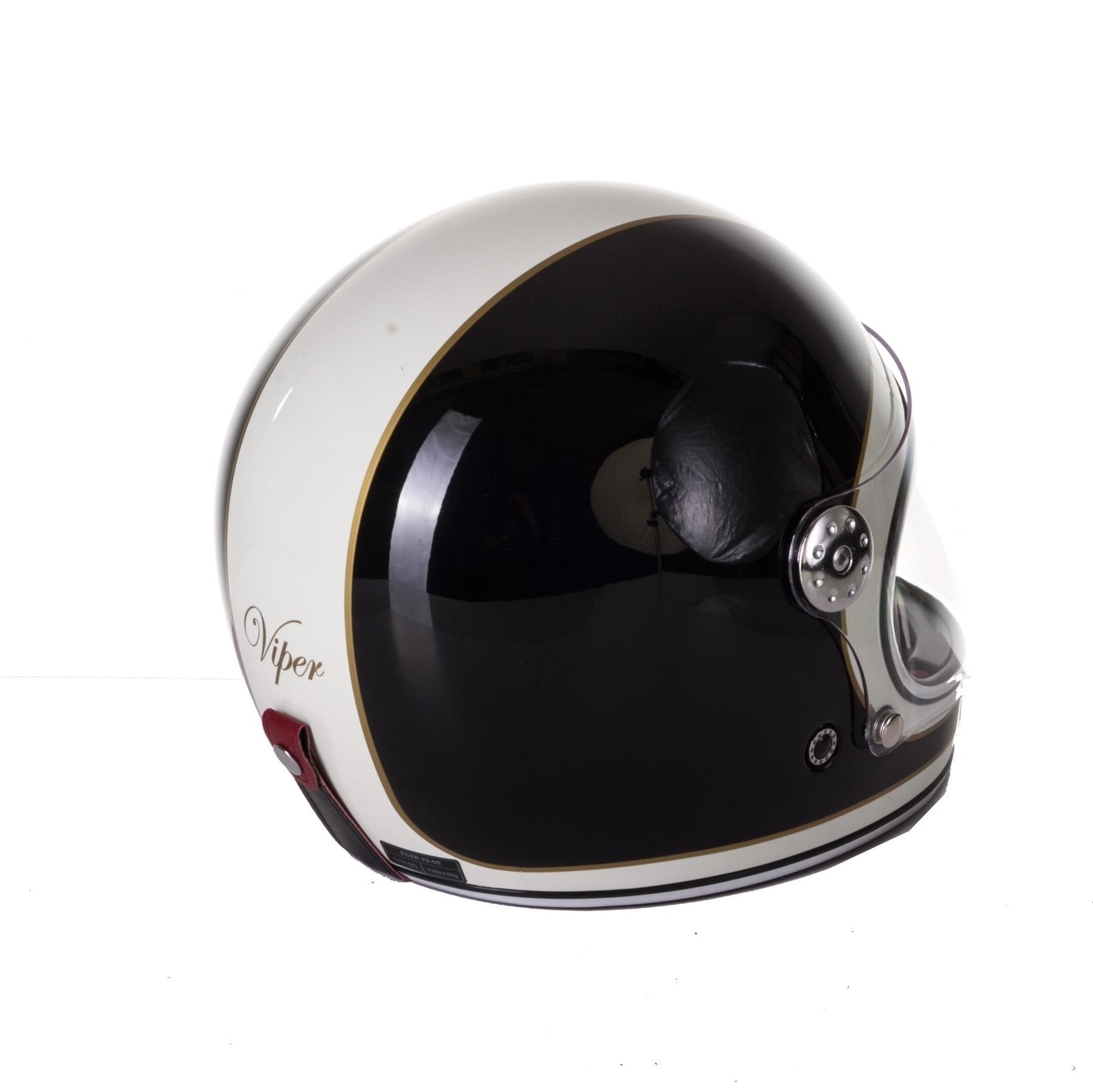 Viper-F656-Retro-Vintage-FibreGlass-Full-Face-Motorcycle-Bike-Road-Crash-Helmet miniature 6