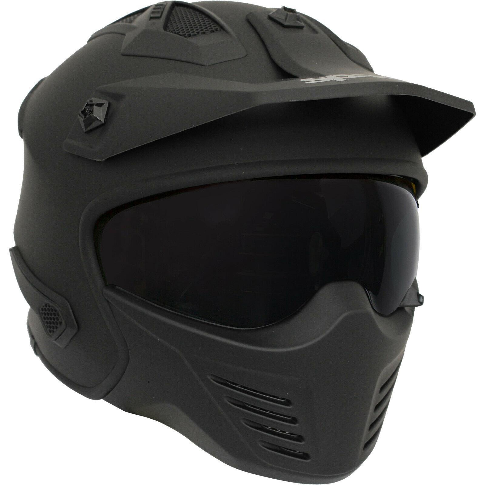 Spada-Storm-Plain-Open-Face-Motorcycle-Motorbike-Matt-Black-Sun-Visor-Helmet miniature 4