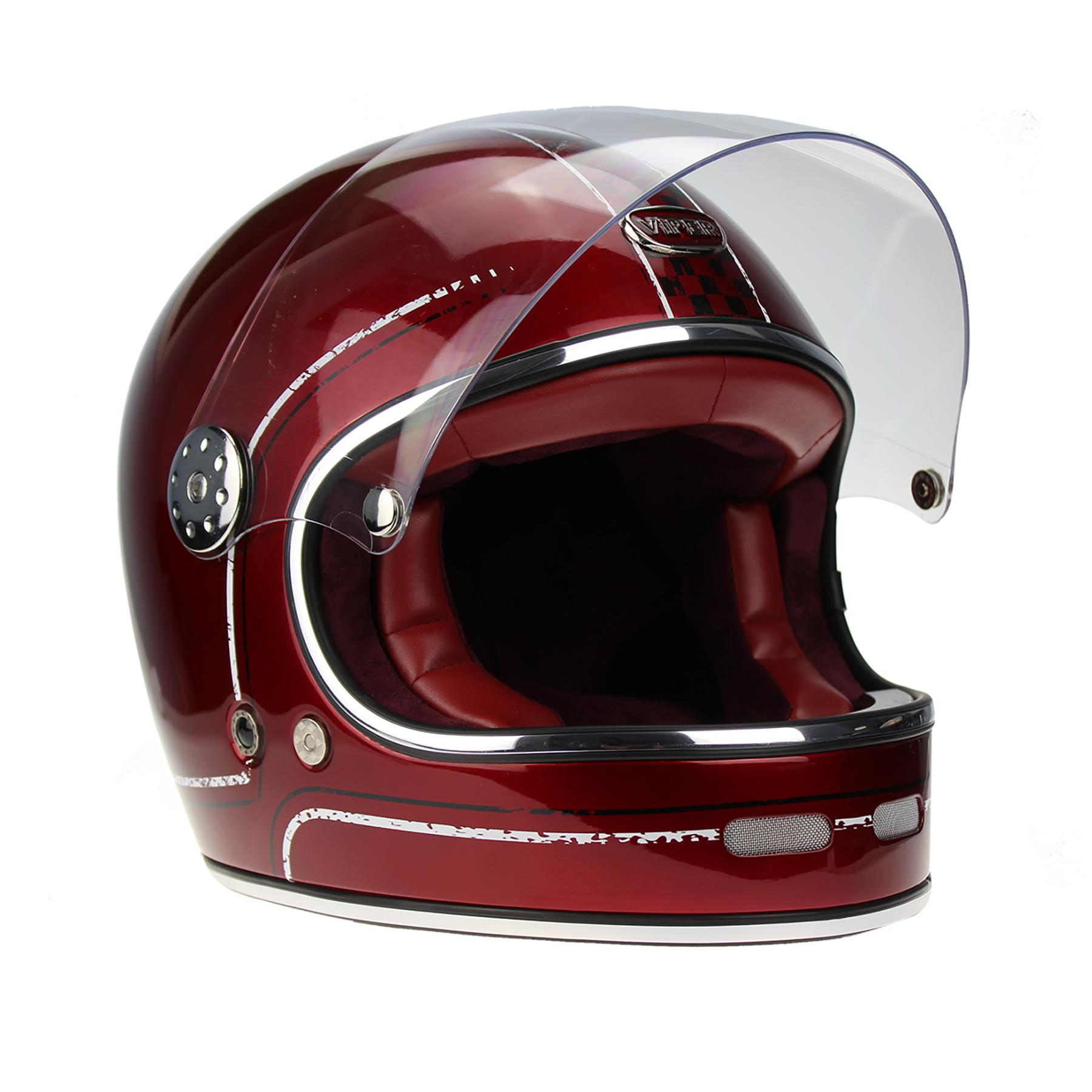 Viper-F656-Retro-Vintage-FibreGlass-Full-Face-Motorcycle-Bike-Road-Crash-Helmet miniature 10