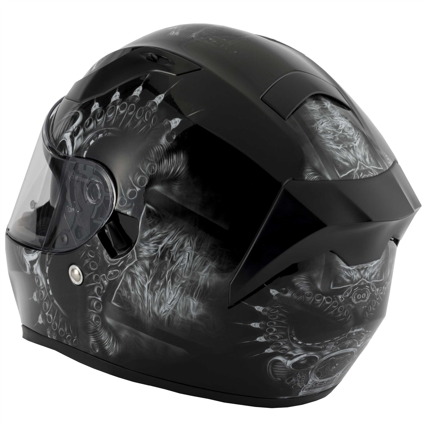 thumbnail 23 - VCAN V128 Dragon Skull Monster Motorcycle Bike Helmet With Drop Down Sun Visor