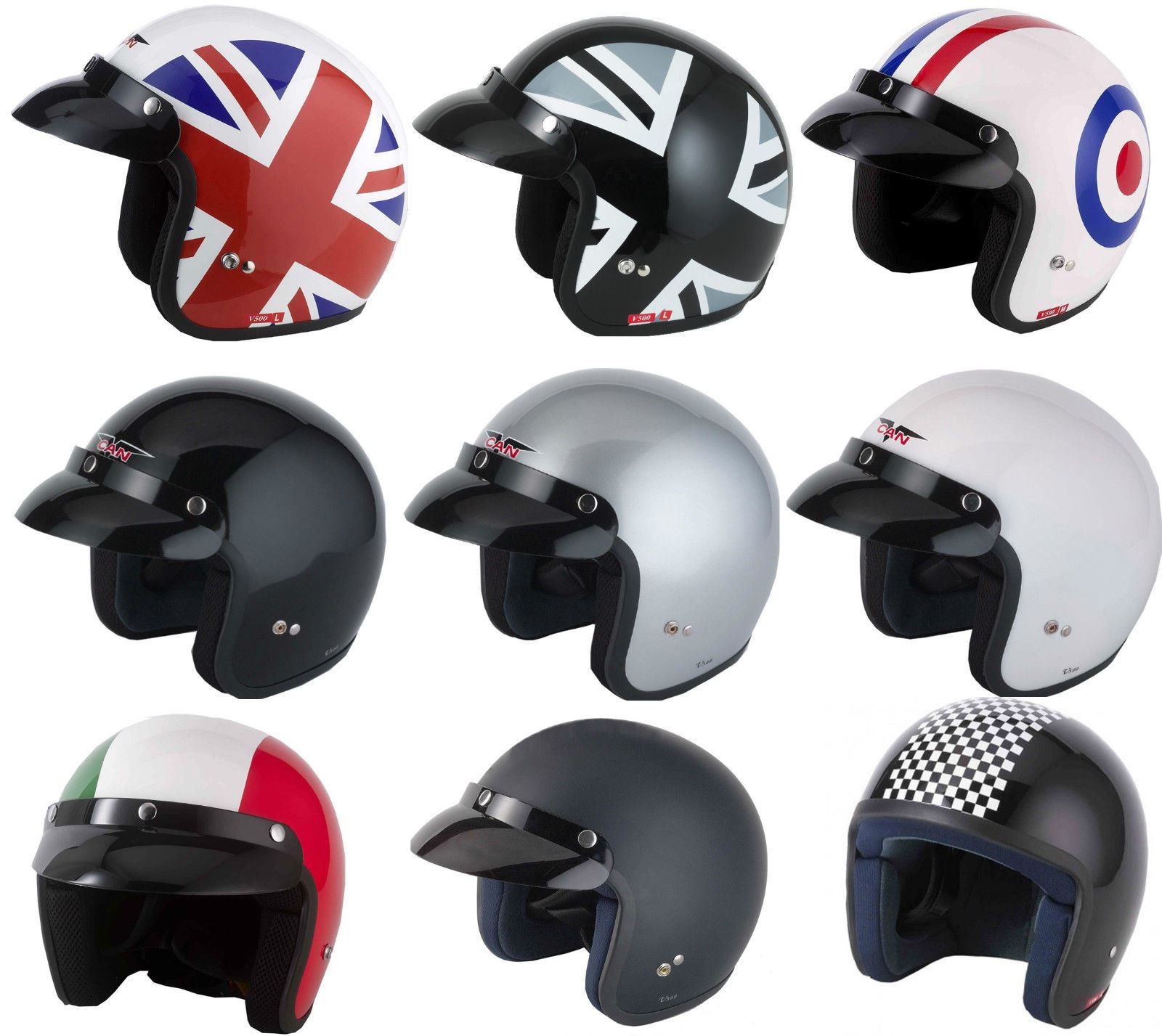 Vcan V500 Open Face Jet Classic Motorcycle Bike Scooter Urban Helmet Graphic Ebay