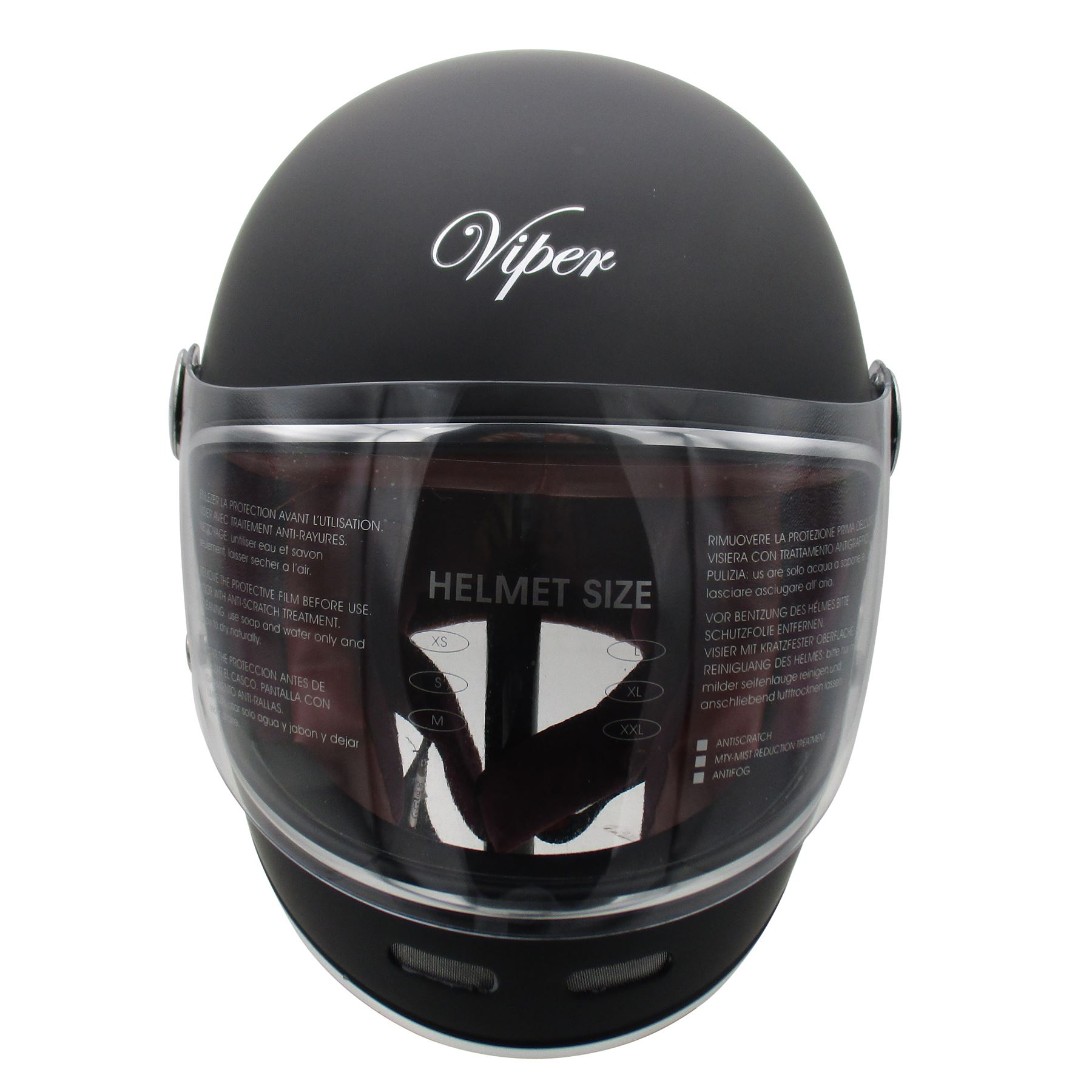 Viper-F656-Retro-Vintage-FibreGlass-Full-Face-Motorcycle-Bike-Road-Crash-Helmet miniature 17