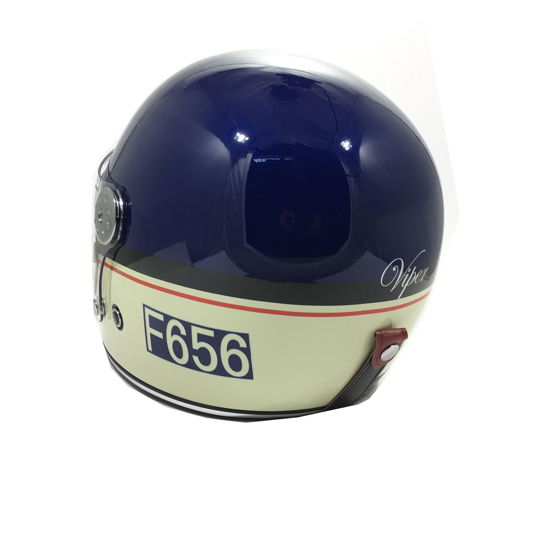 Viper-F656-Retro-Vintage-FibreGlass-Full-Face-Motorcycle-Bike-Road-Crash-Helmet miniature 22