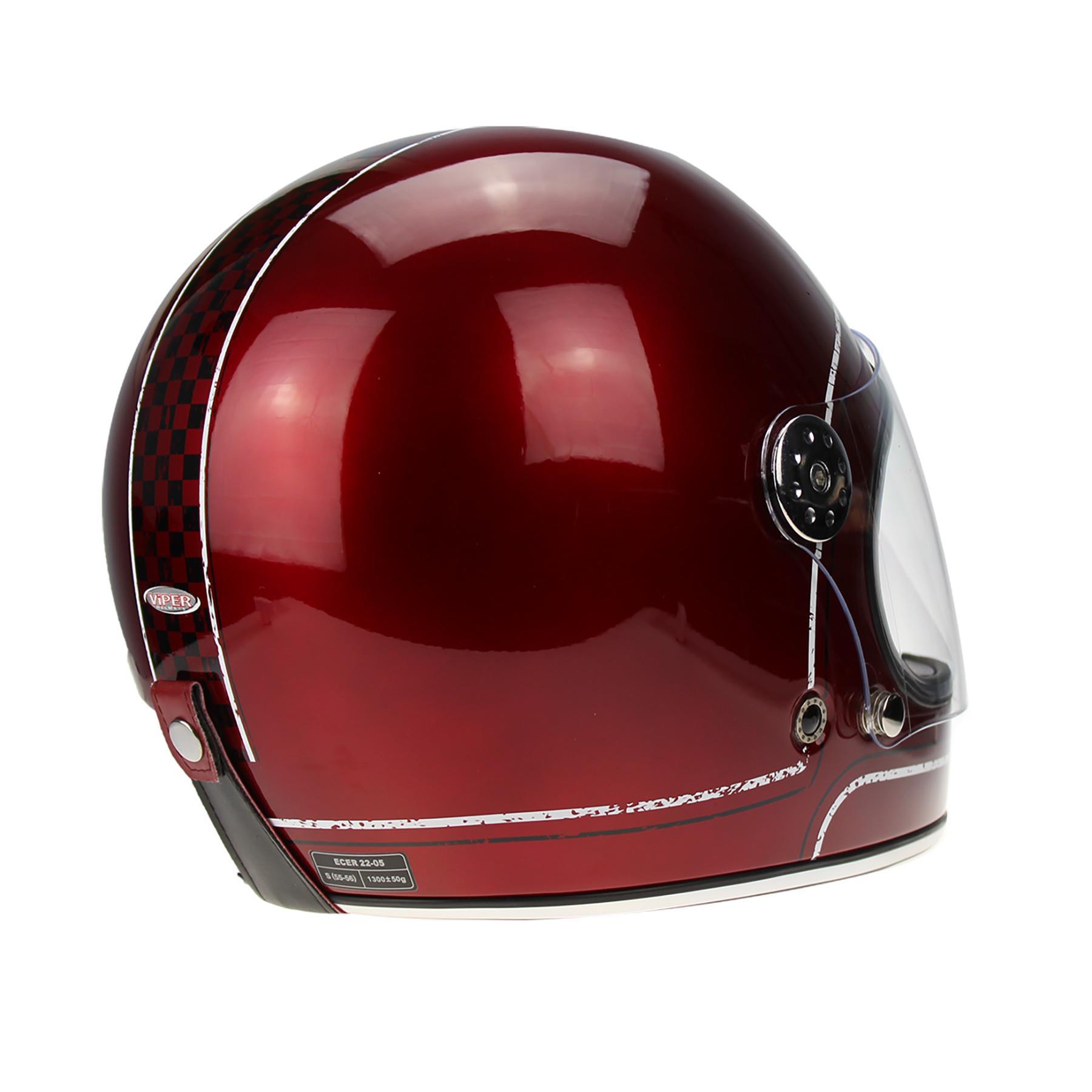 Viper-F656-Retro-Vintage-FibreGlass-Full-Face-Motorcycle-Bike-Road-Crash-Helmet miniature 11