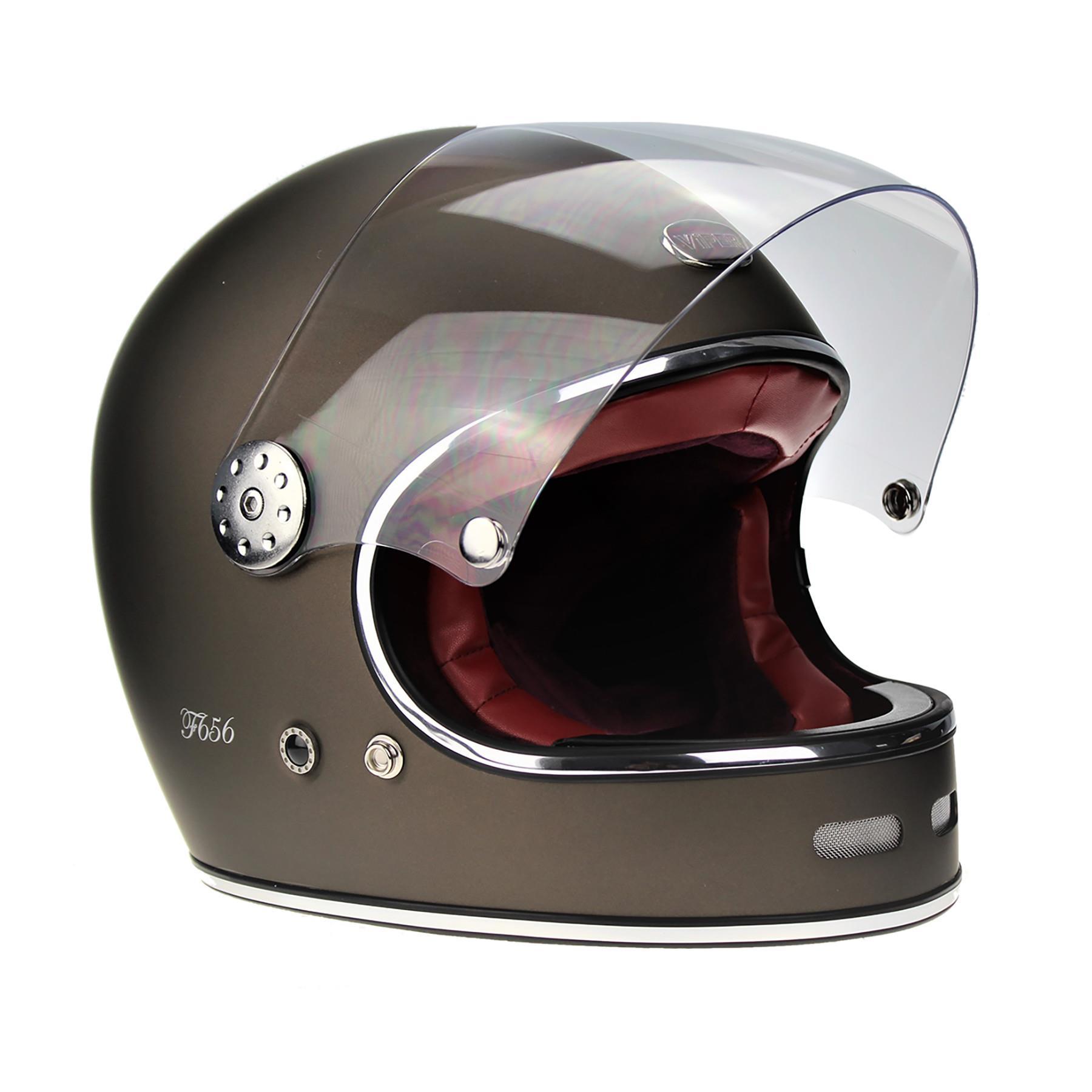 Viper-F656-Retro-Vintage-FibreGlass-Full-Face-Motorcycle-Bike-Road-Crash-Helmet miniature 27