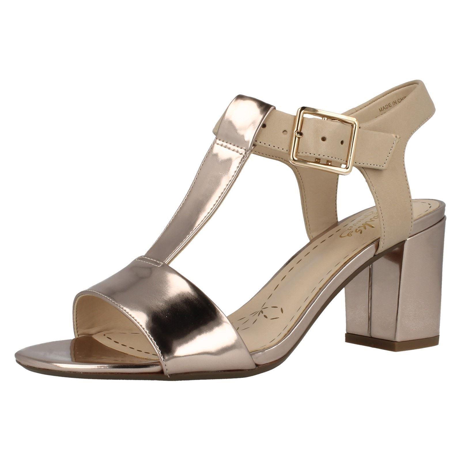 DONNA CLARKS' open toe con fibbie elegante Sandali con Tacco ALLA MODA DEVA