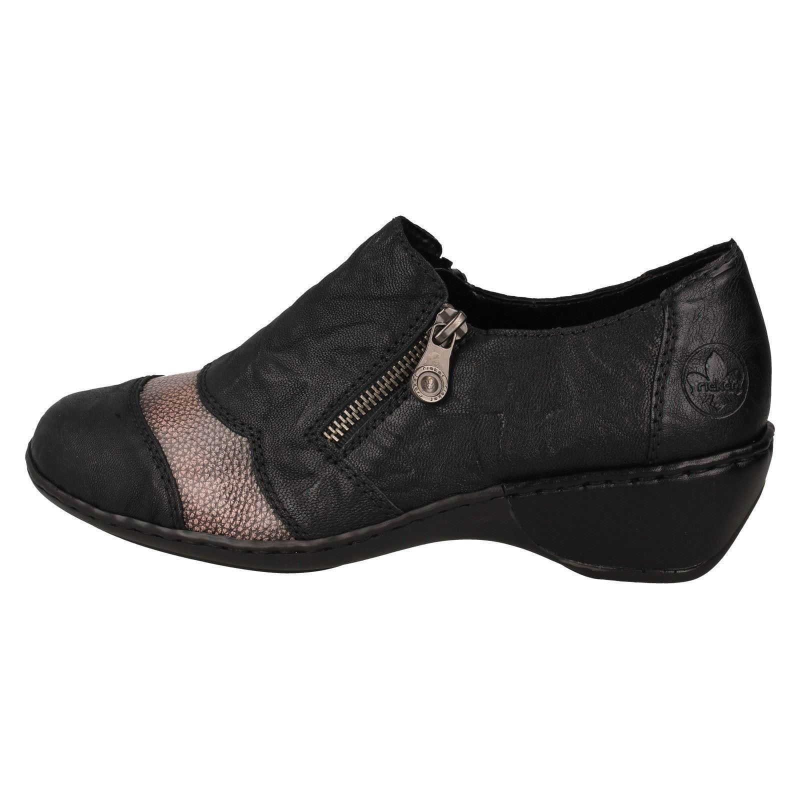 Ladies Rieker Stylish Heeled Trouser Shoes 47160 Black Combination