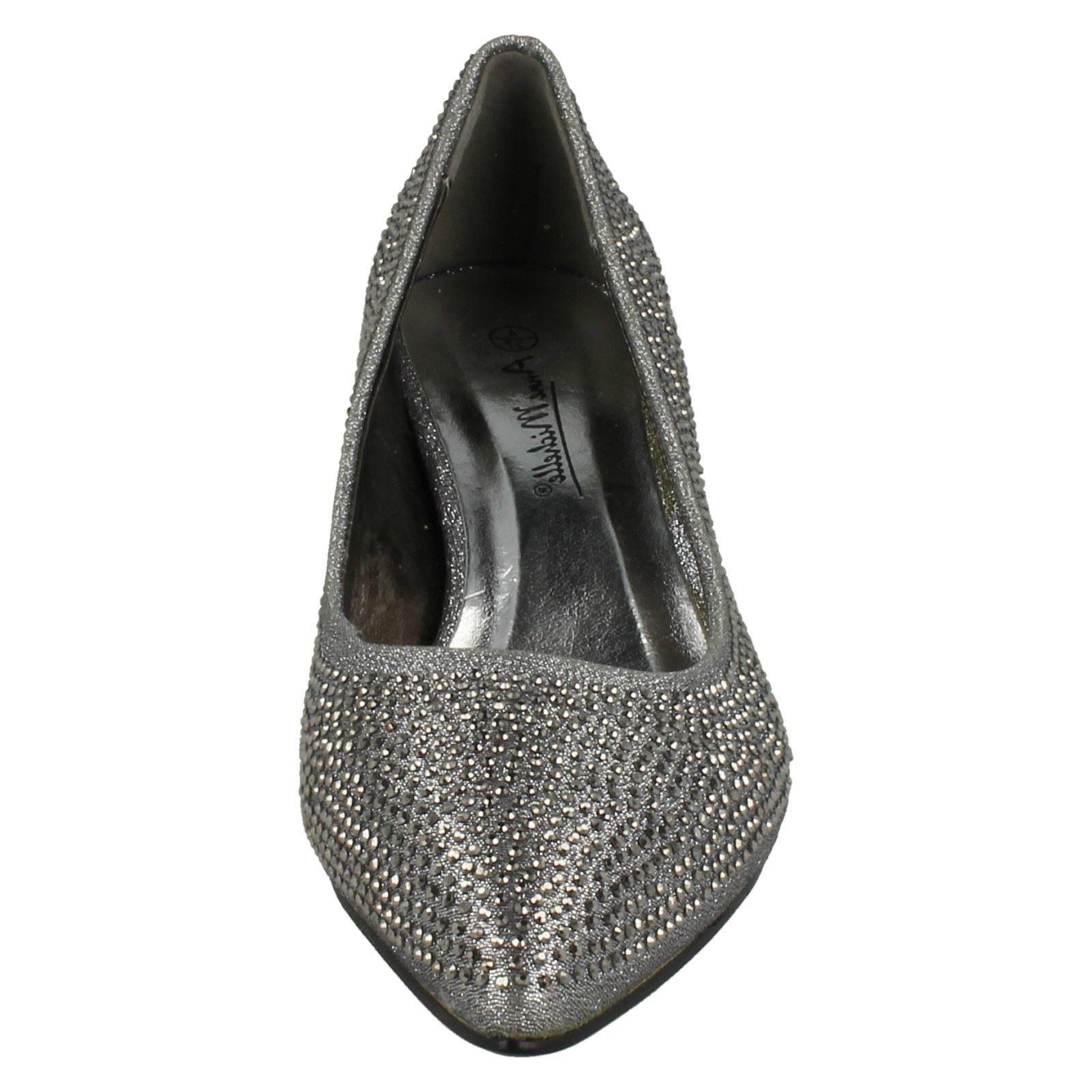 Ladies-Anne-Michelle-Diamante-Low-Heel-Court-Shoes thumbnail 22
