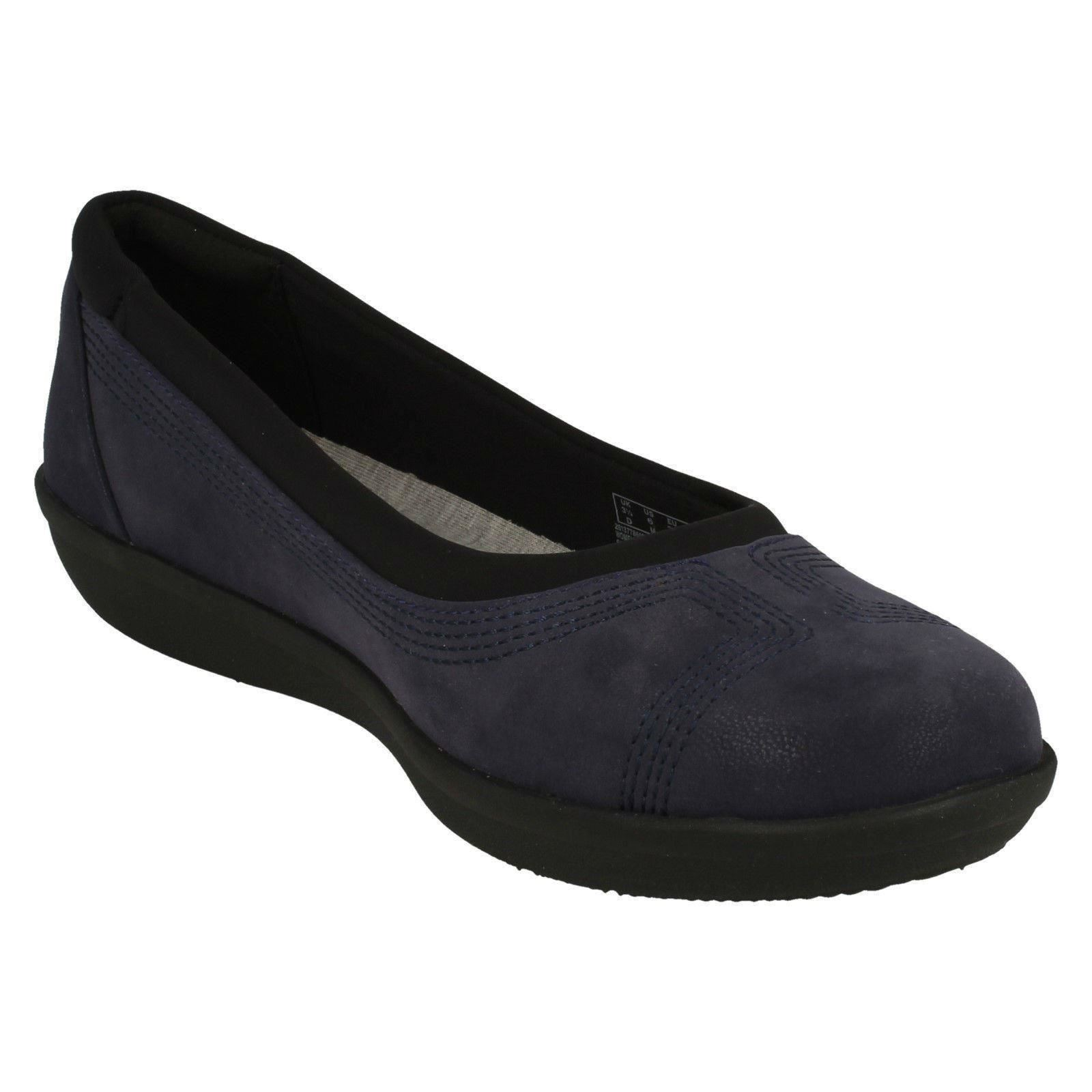 Ladies Clarks Cloud Steppers Flat Textile Rounded Toe Shoes - 'Byla Low'