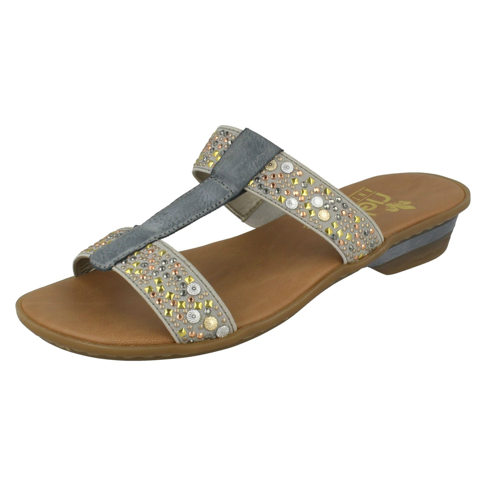 5012114b359667 Ladies Rieker Jewelled Mule Sandals  63454