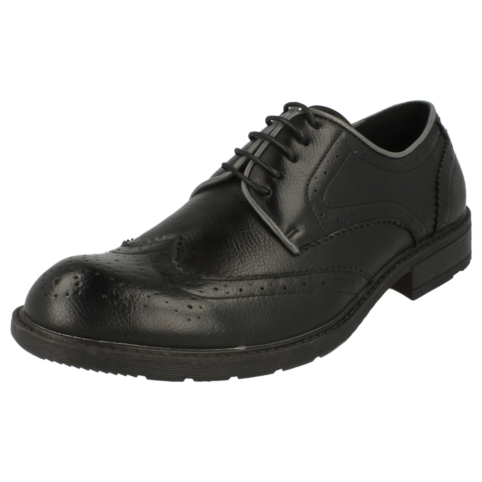 Hombre MAVERICK Tacón Bajo Zapato Cuero Calado Cordones