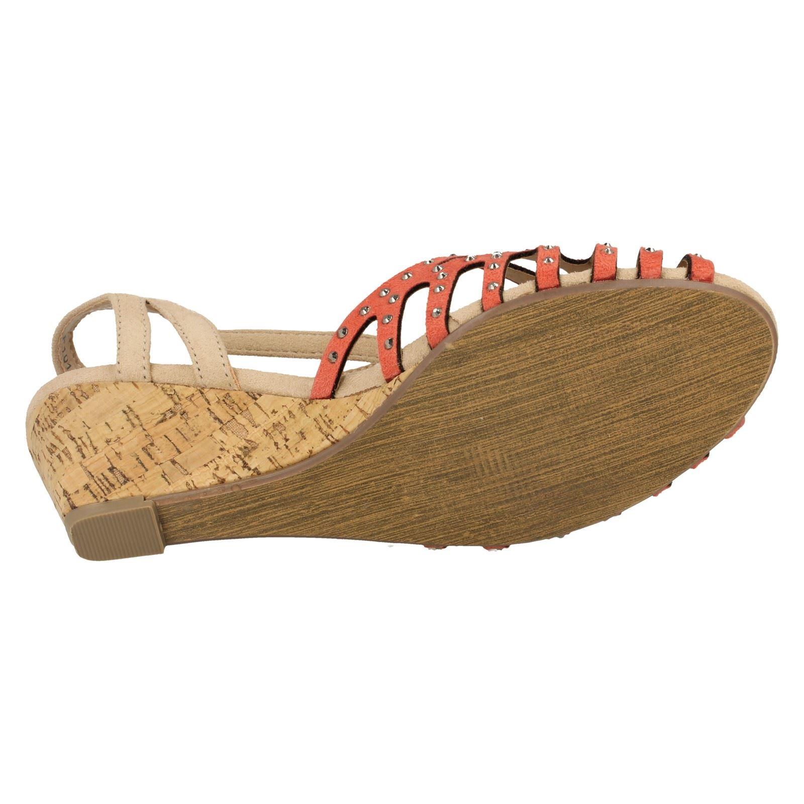 Sandalias de cuña señoras de punto en medio