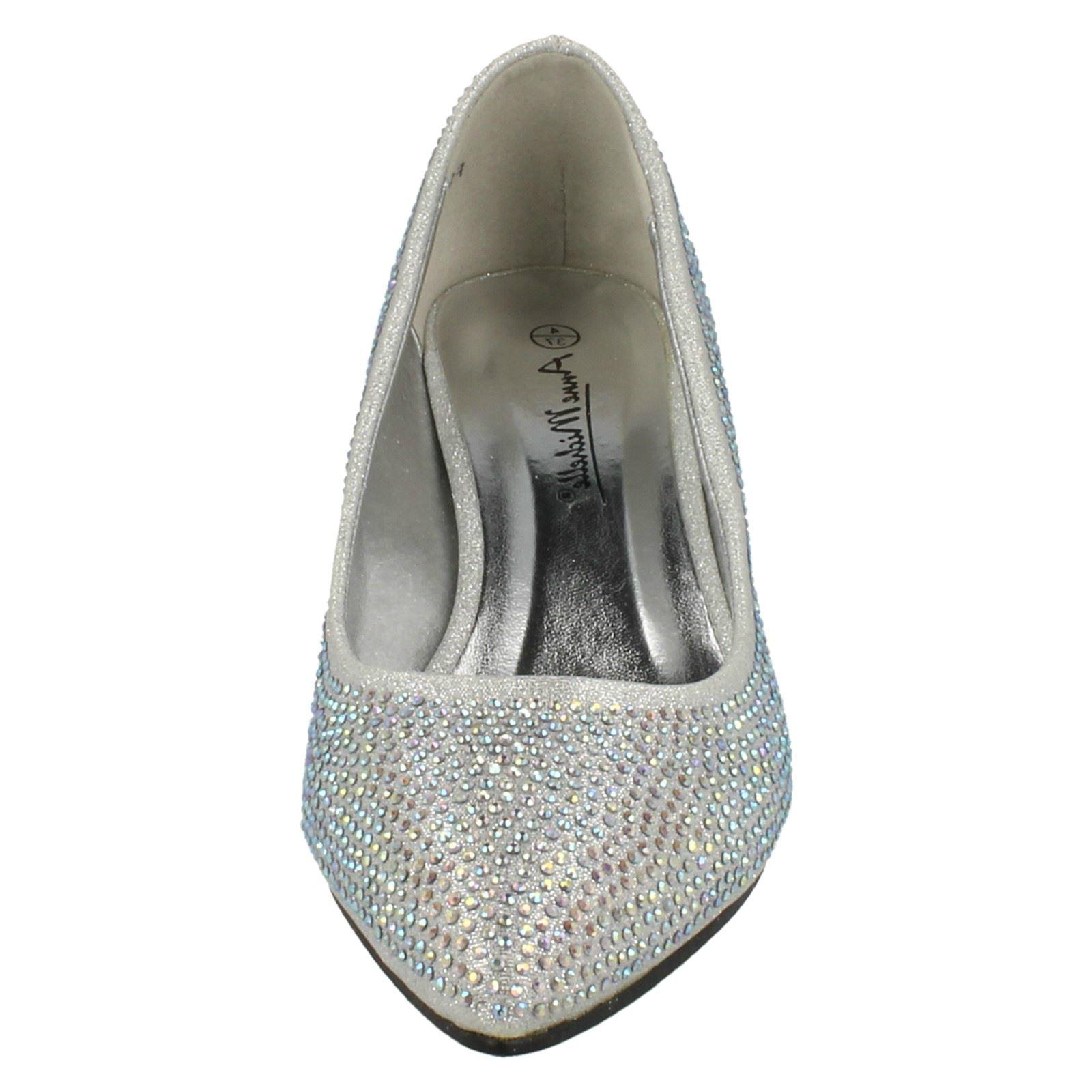 Ladies-Anne-Michelle-Diamante-Low-Heel-Court-Shoes thumbnail 33