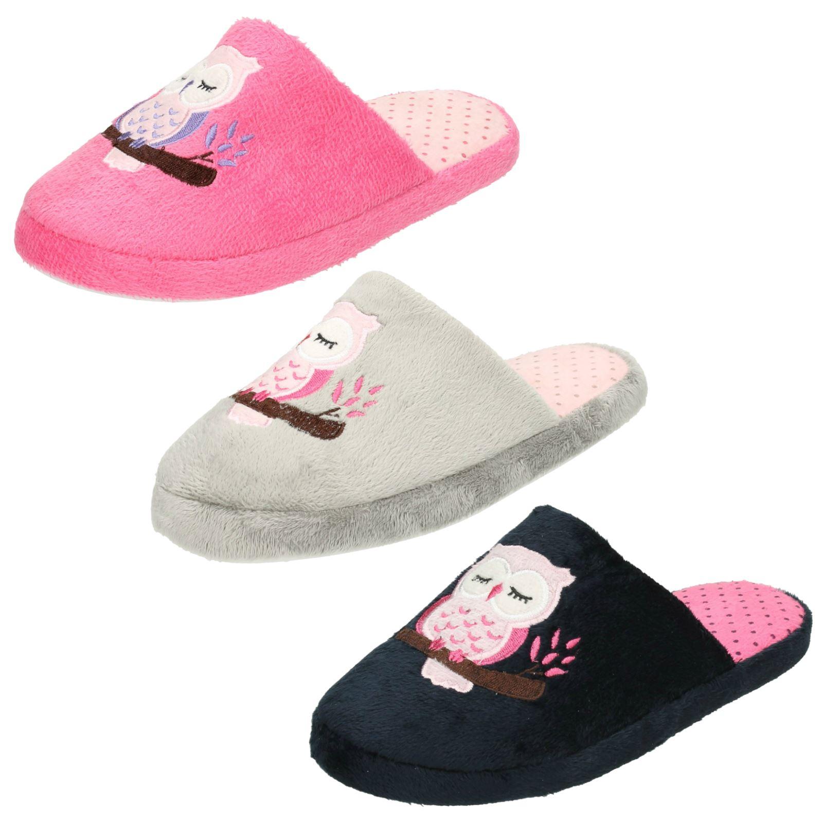 Ladies Spot sul gufo stampa mulo pantofola X2093